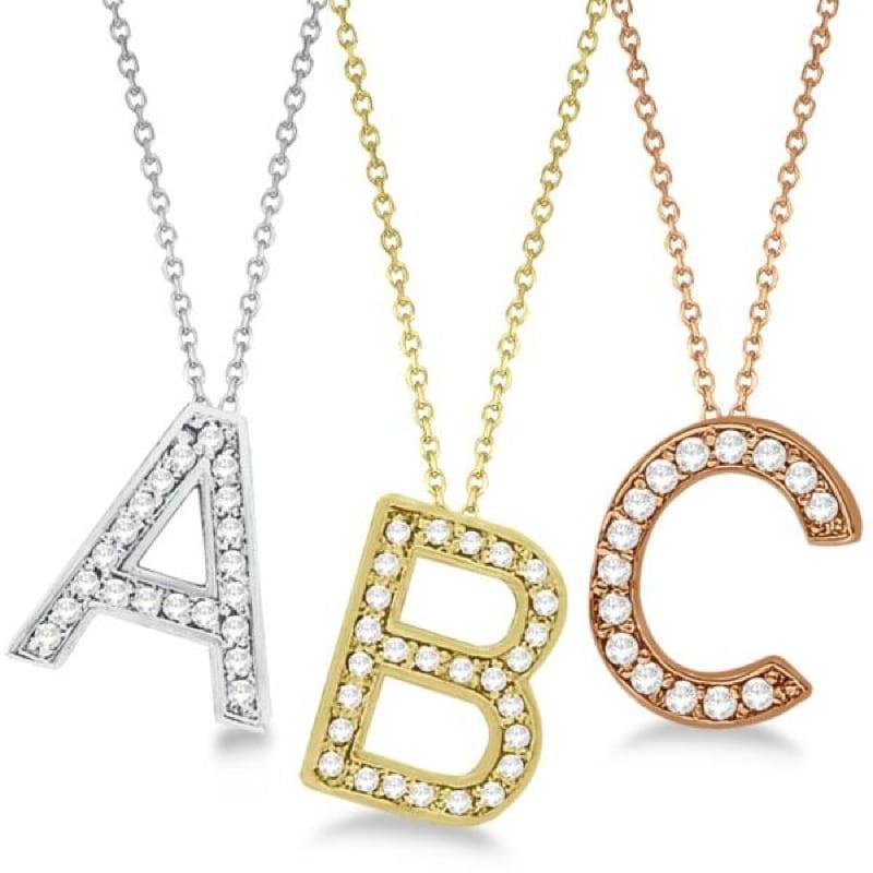 14 Karat Gold Diamond Initial Letter Necklace