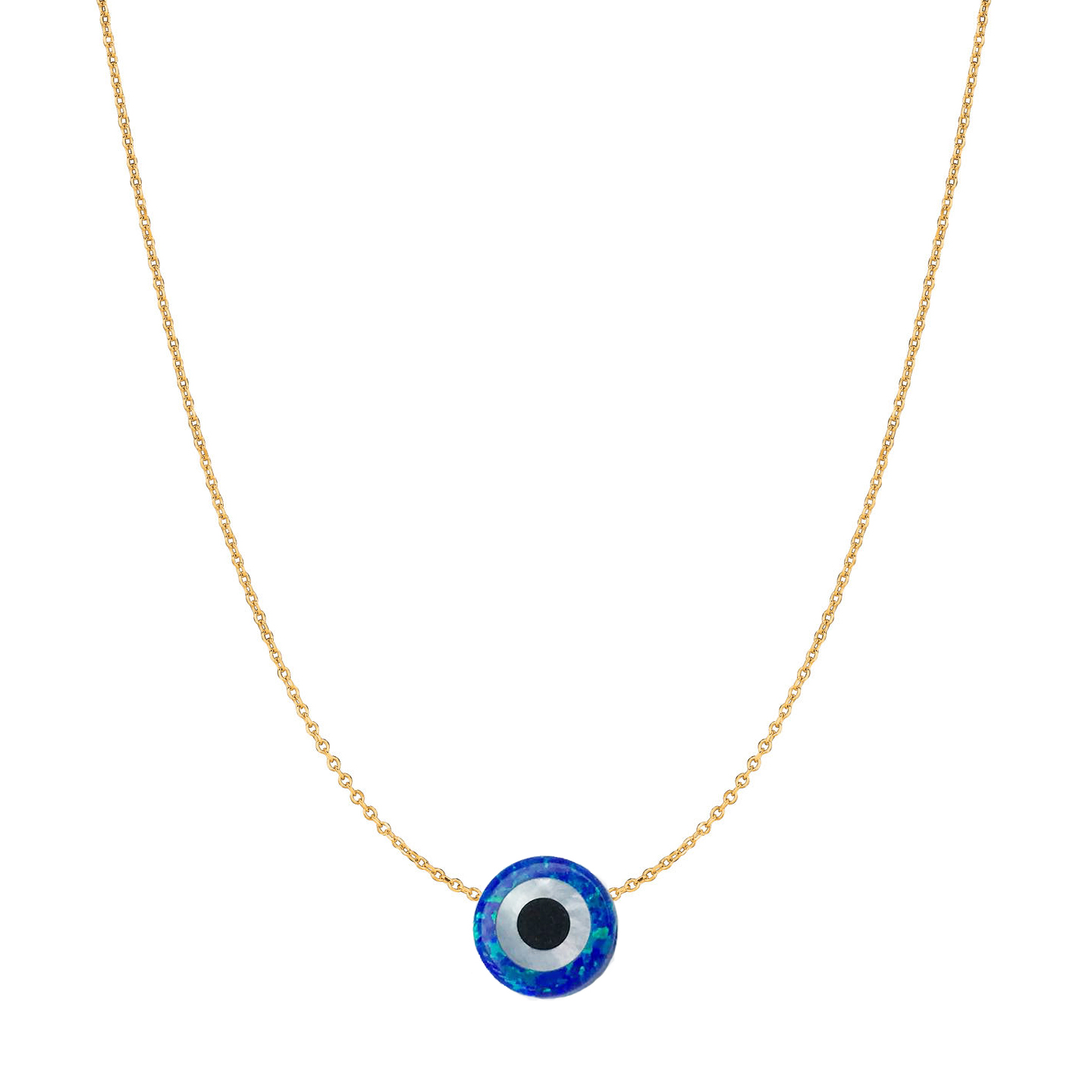 14 Karat Gold Royal Blue Opal Evil Eye Necklace