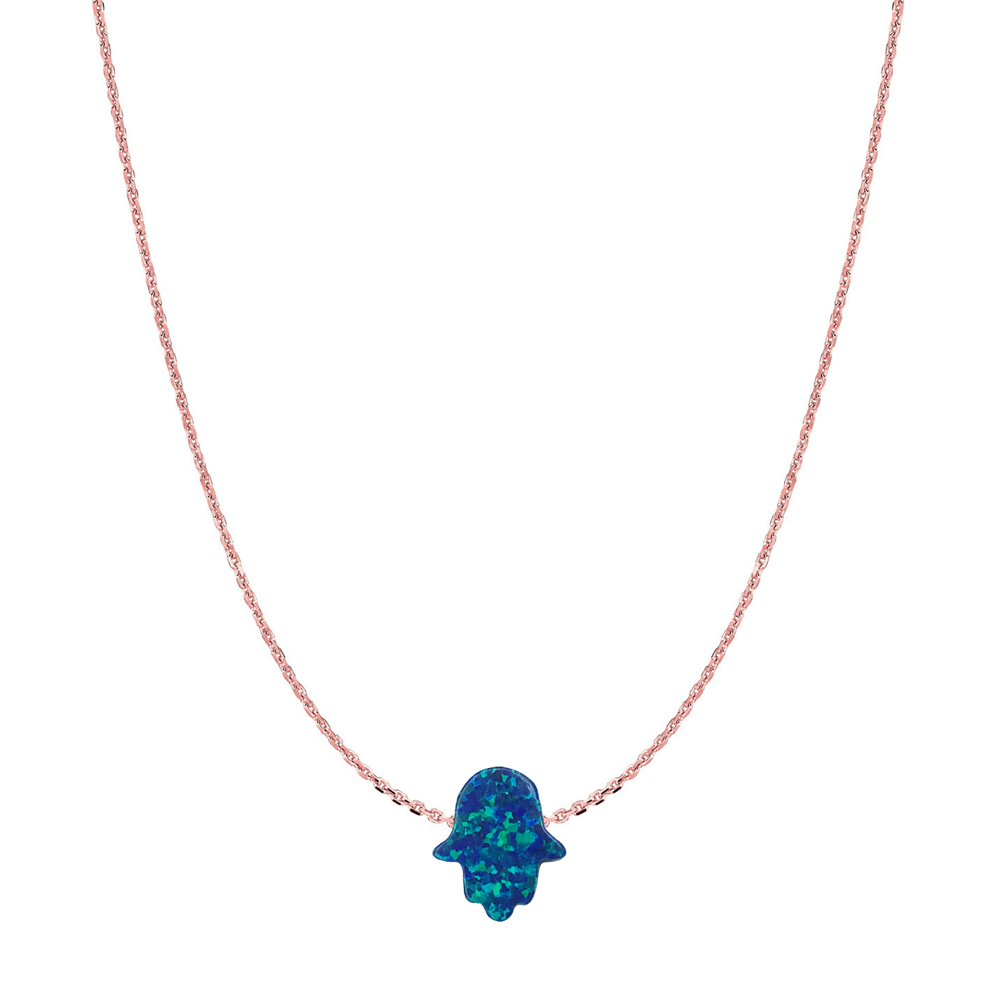 14 Karat Gold Ocean Blue Opal Hamsa Necklace