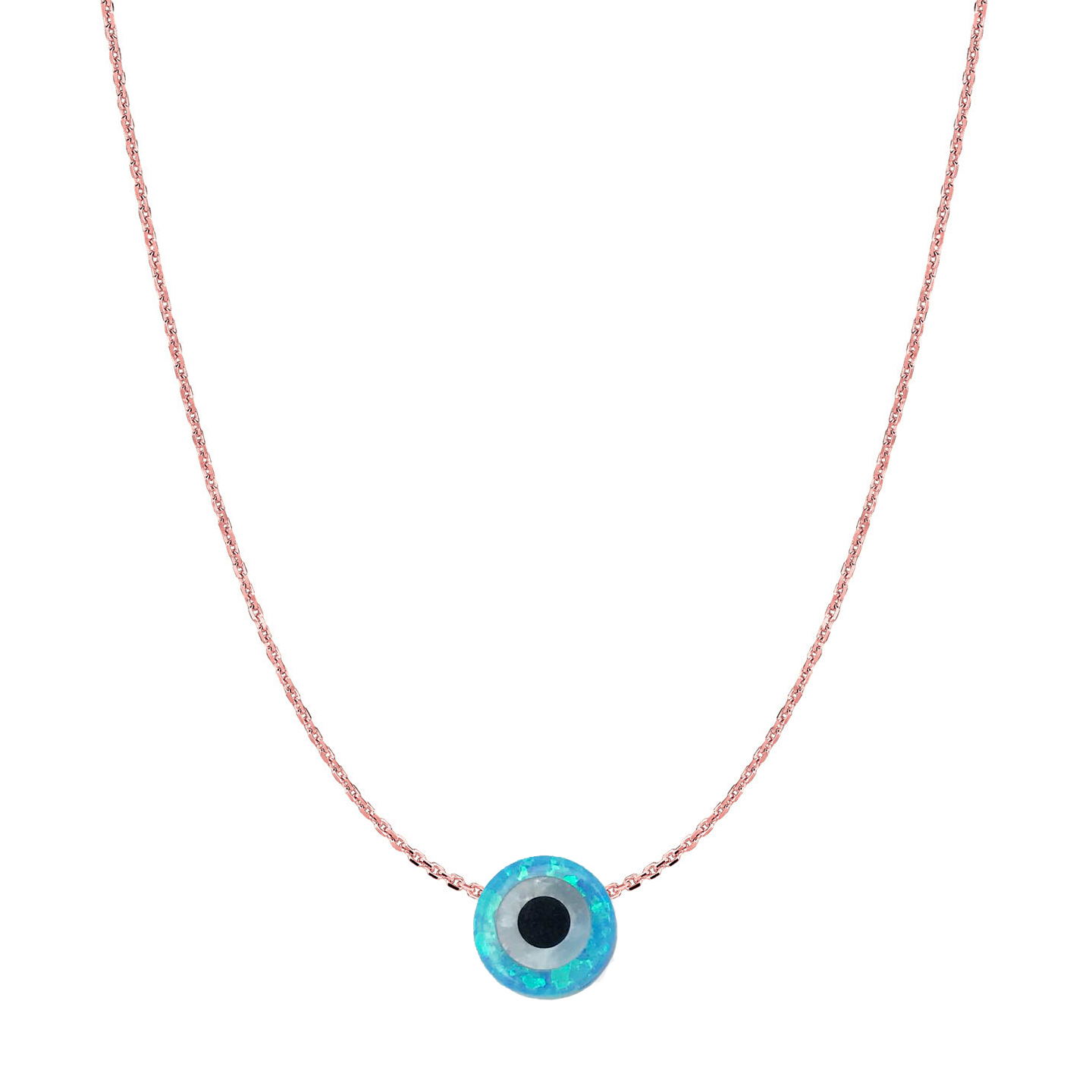 14 Karat Gold Light Blue Opal Evil Eye Necklace