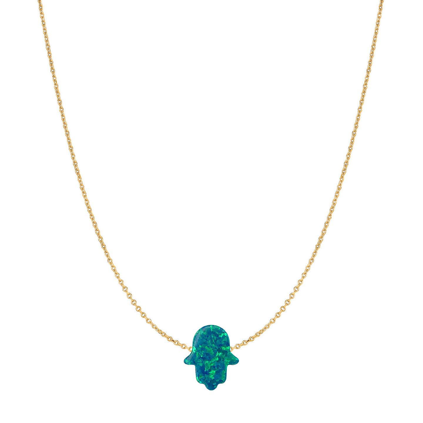14 Karat Gold Peacock Blue Opal Hamsa Necklace