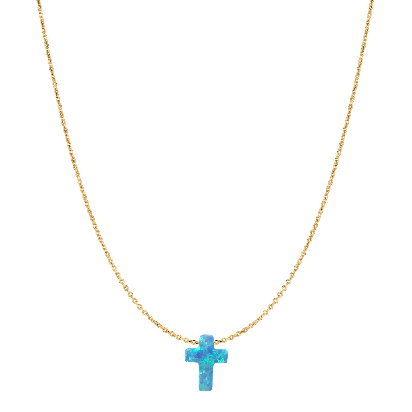 14 Karat Gold Light Blue Opal Cross Necklace