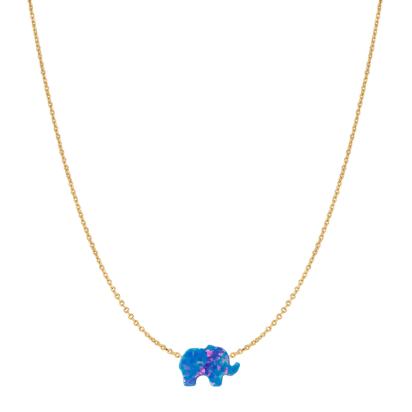 14 Karat Gold Blue Night Elephant Opal Necklace