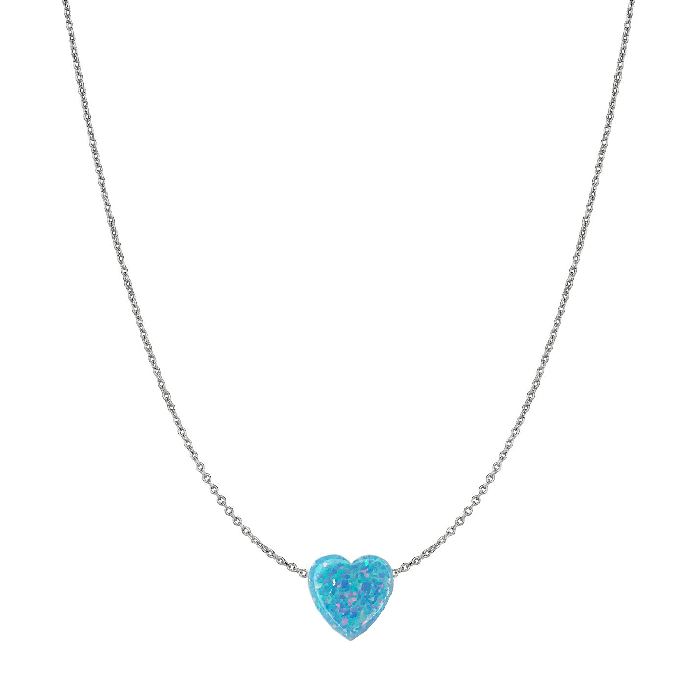 14 Karat Gold Sky Blue Opal Heart Necklace