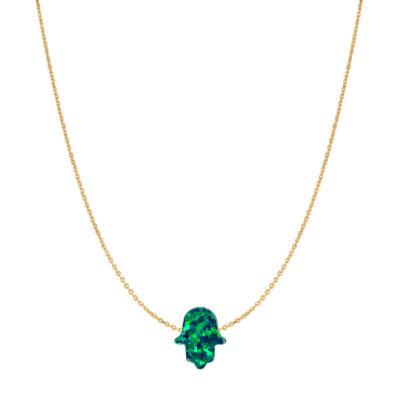14 Karat Gold Emerald Green Opal Hamsa Necklace