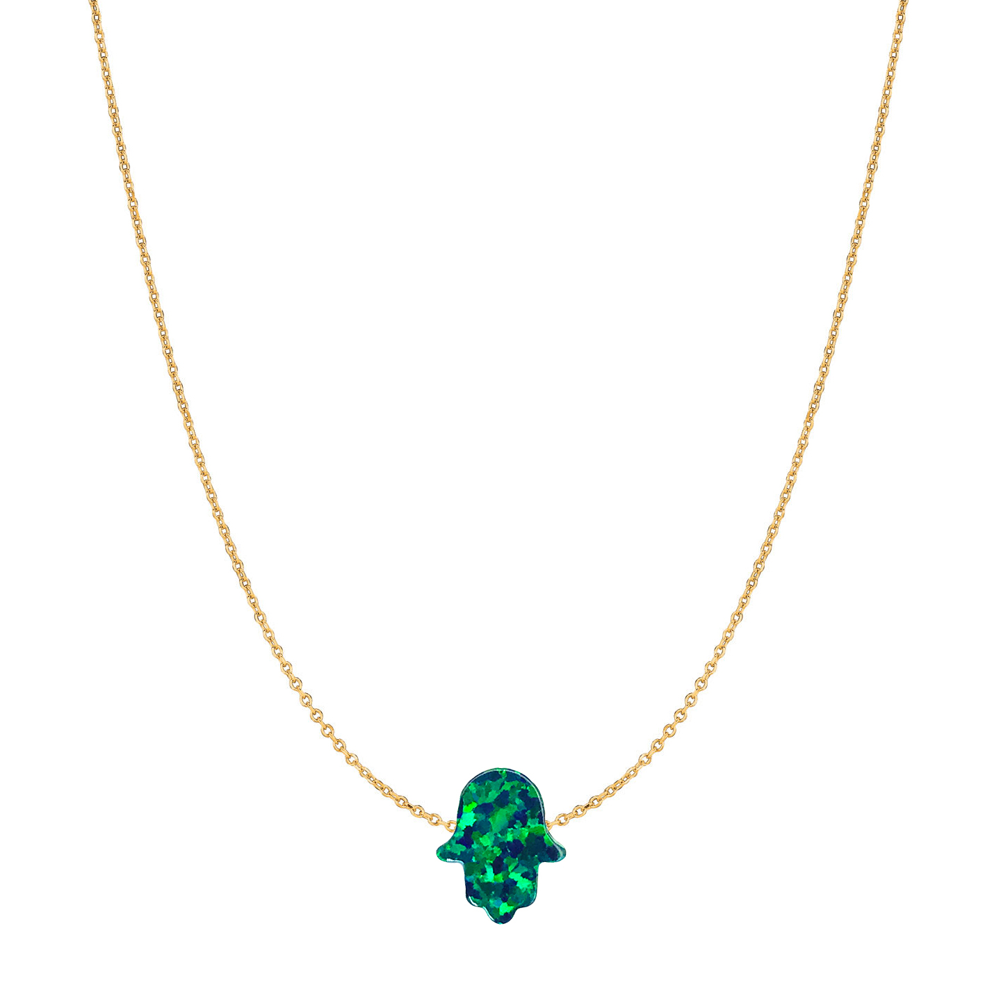 14 Karat Gold Emerald Green Opal Hamsa Necklace