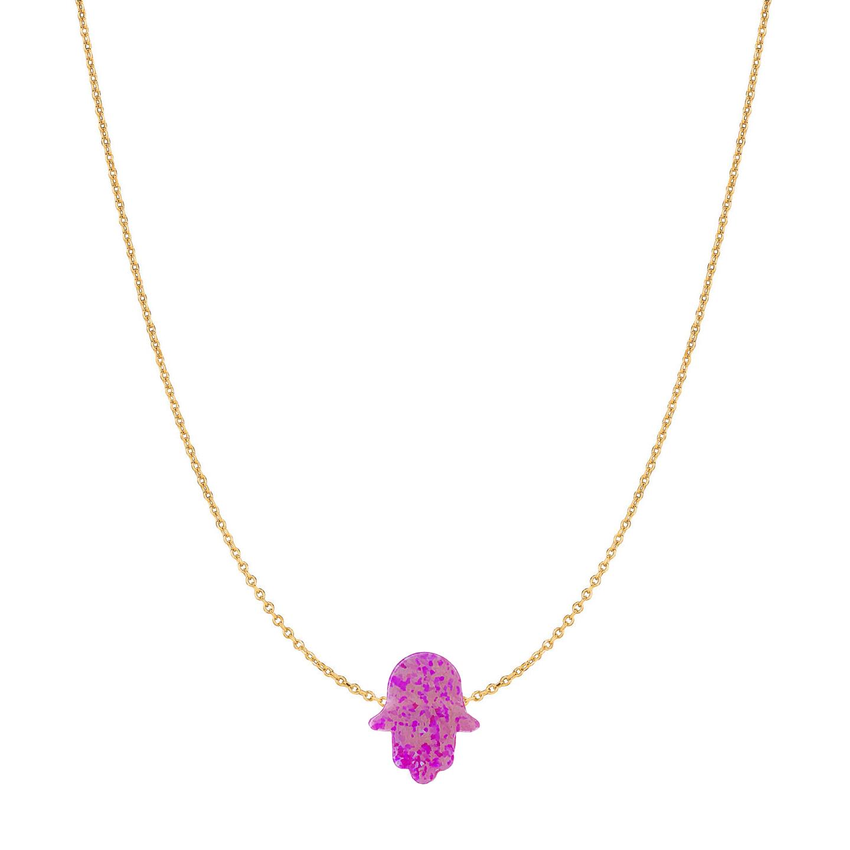 14 Karat Gold Orchid Pink Opal Hamsa Necklace
