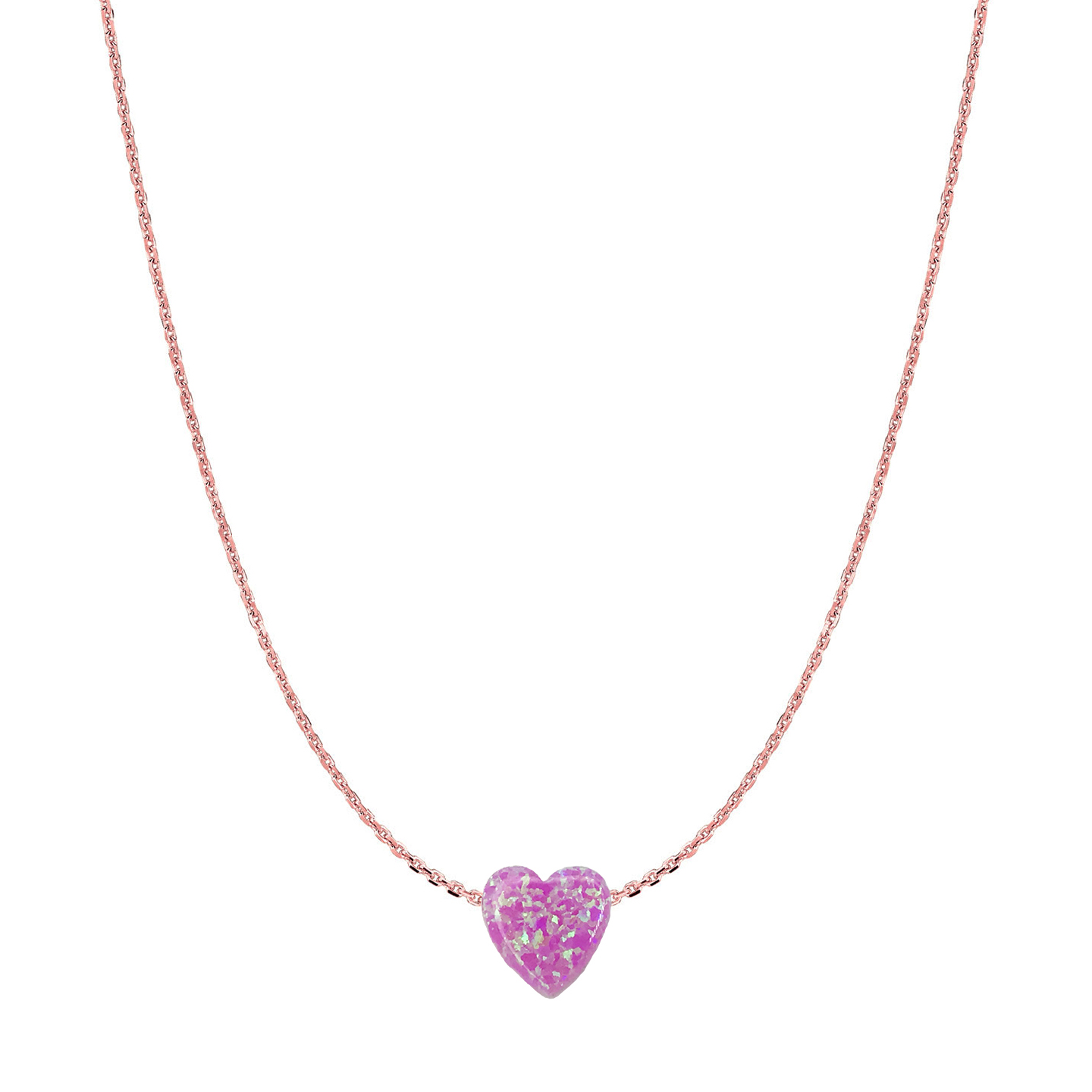 14 Karat Gold Bubble Gum Pink Opal Heart Necklace