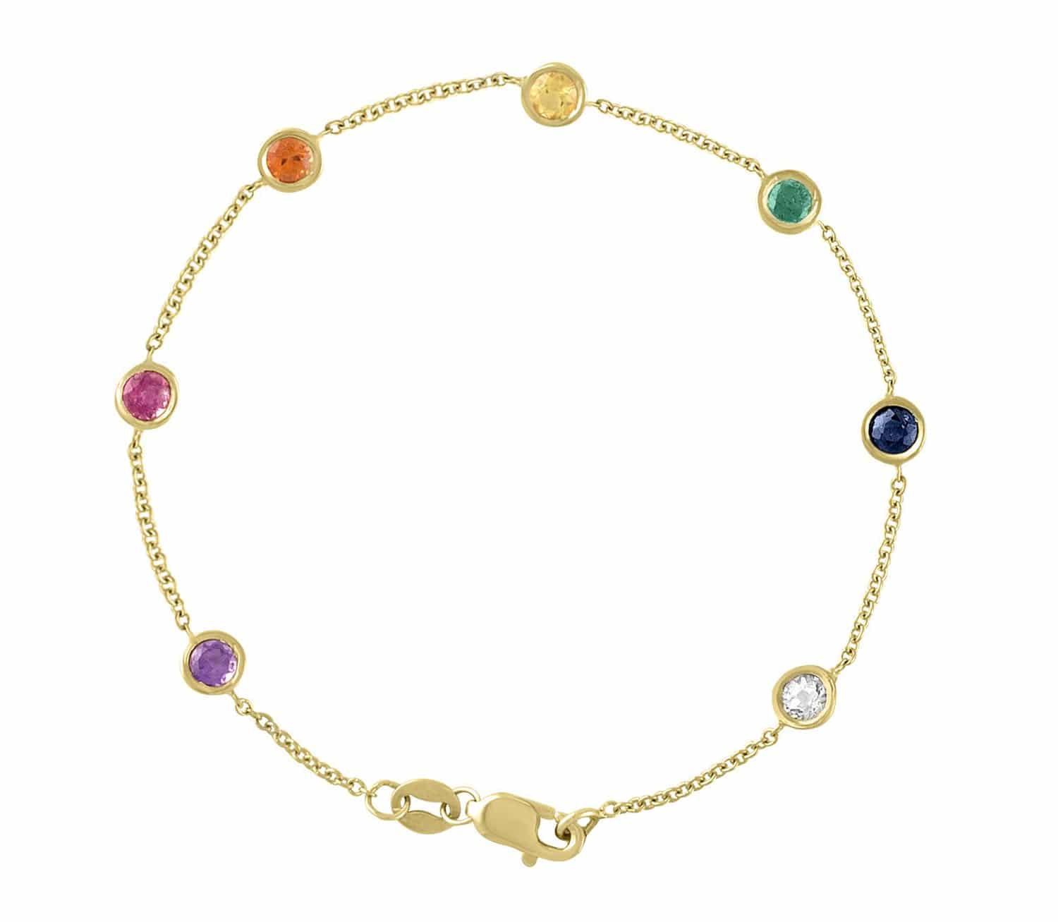 14 Karat Gold Rainbow Gemstone By The Yard Bracelet