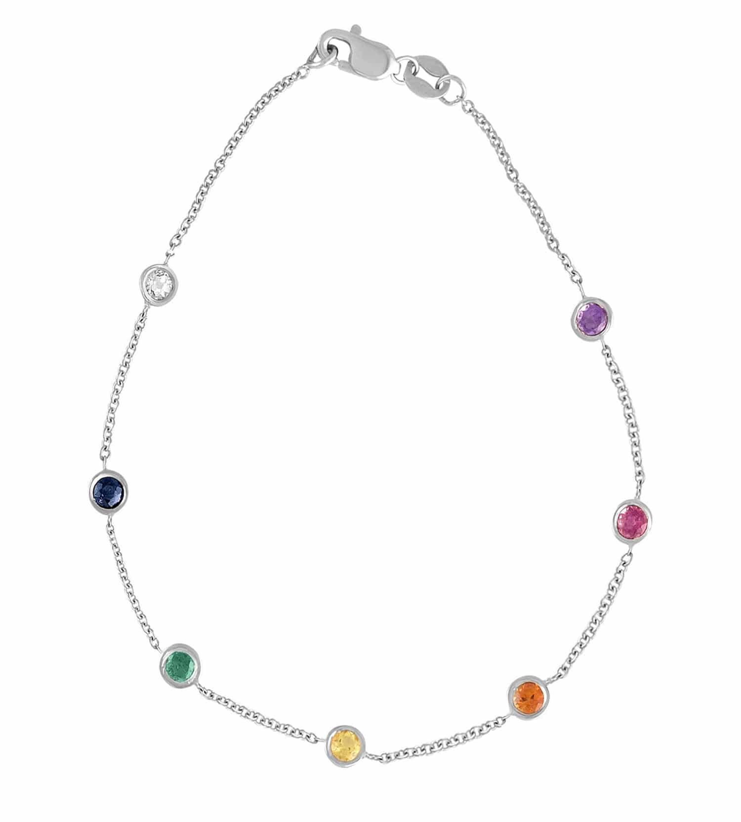 14 Karat Gold Rainbow Gemstone By The Yard Necklace