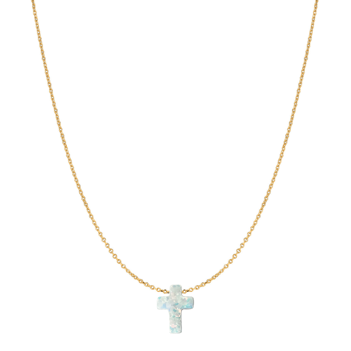 14 Karat Gold Pure White Opal Cross Necklace