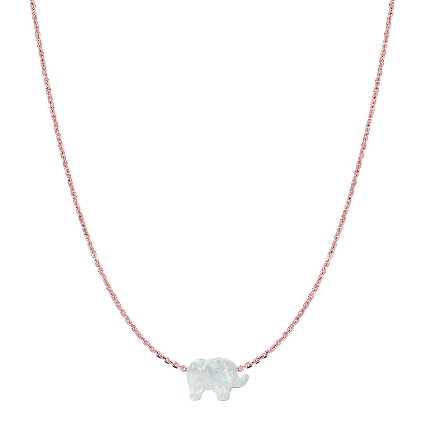 14 Karat Gold Pure White Opal Elephant Necklace