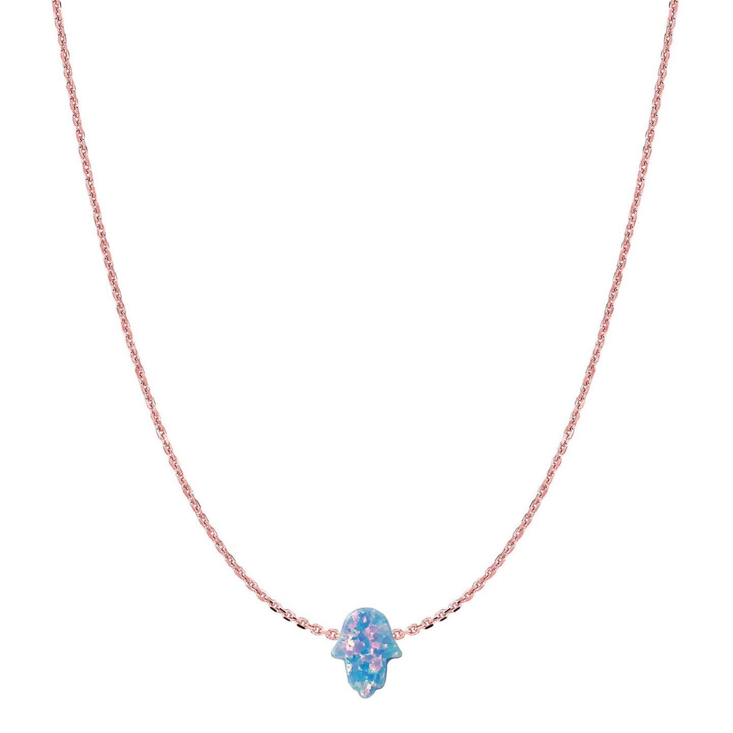 14 Karat Gold Sky Blue Opal Hamsa Necklace
