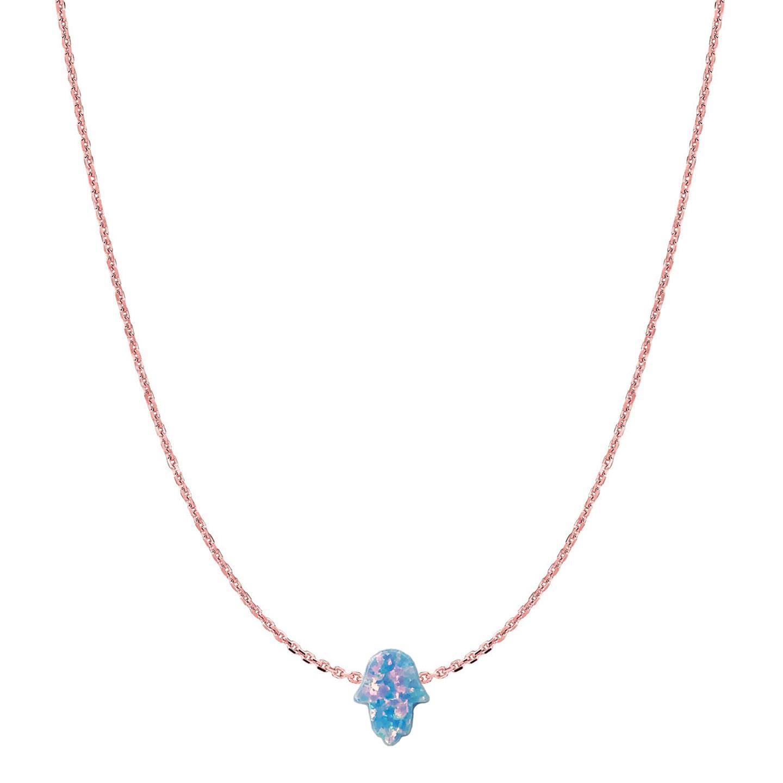 14 Karat Gold Sky Blue Opal Hamsa Necklace