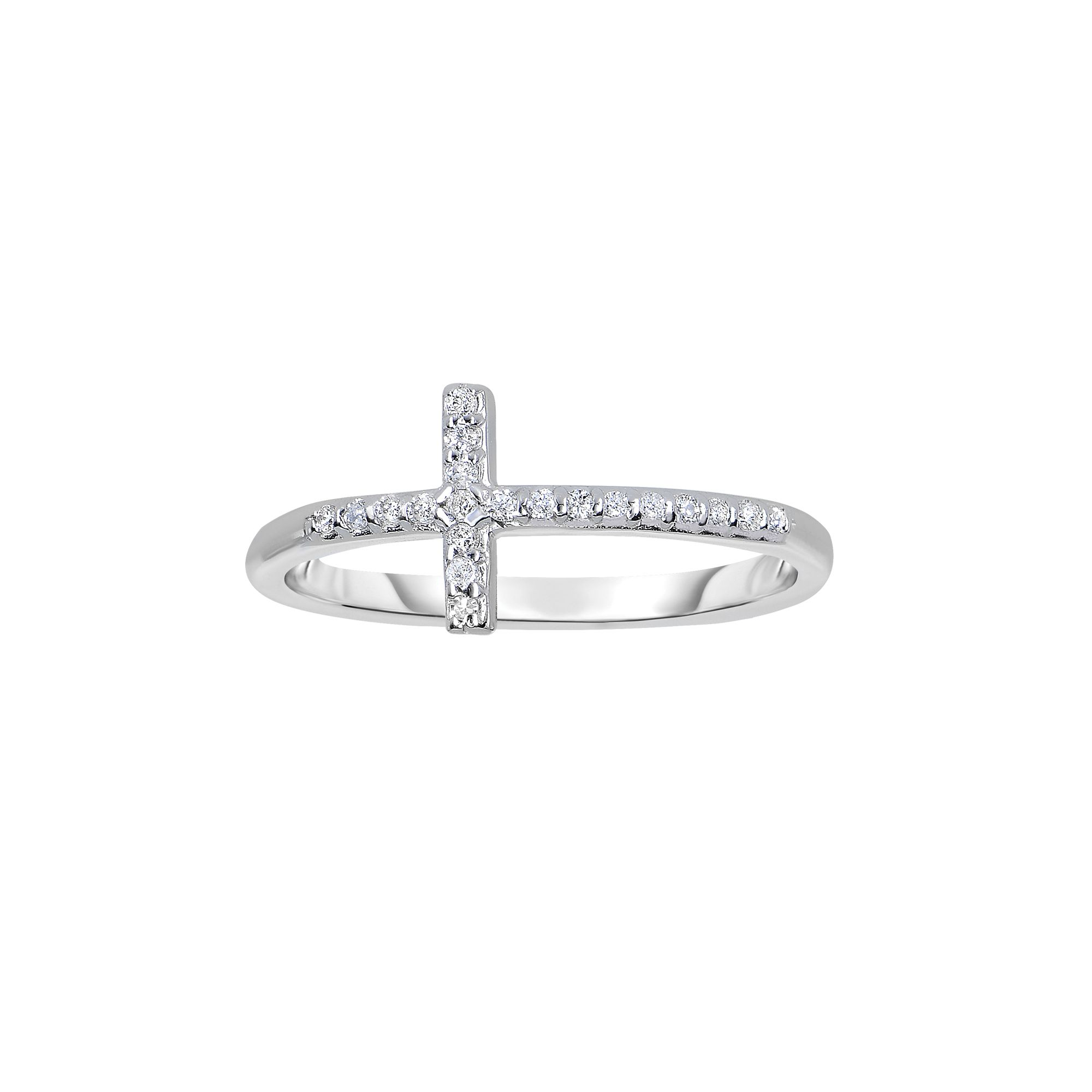 14 Karat White Gold Diamond Sideways Cross Ring