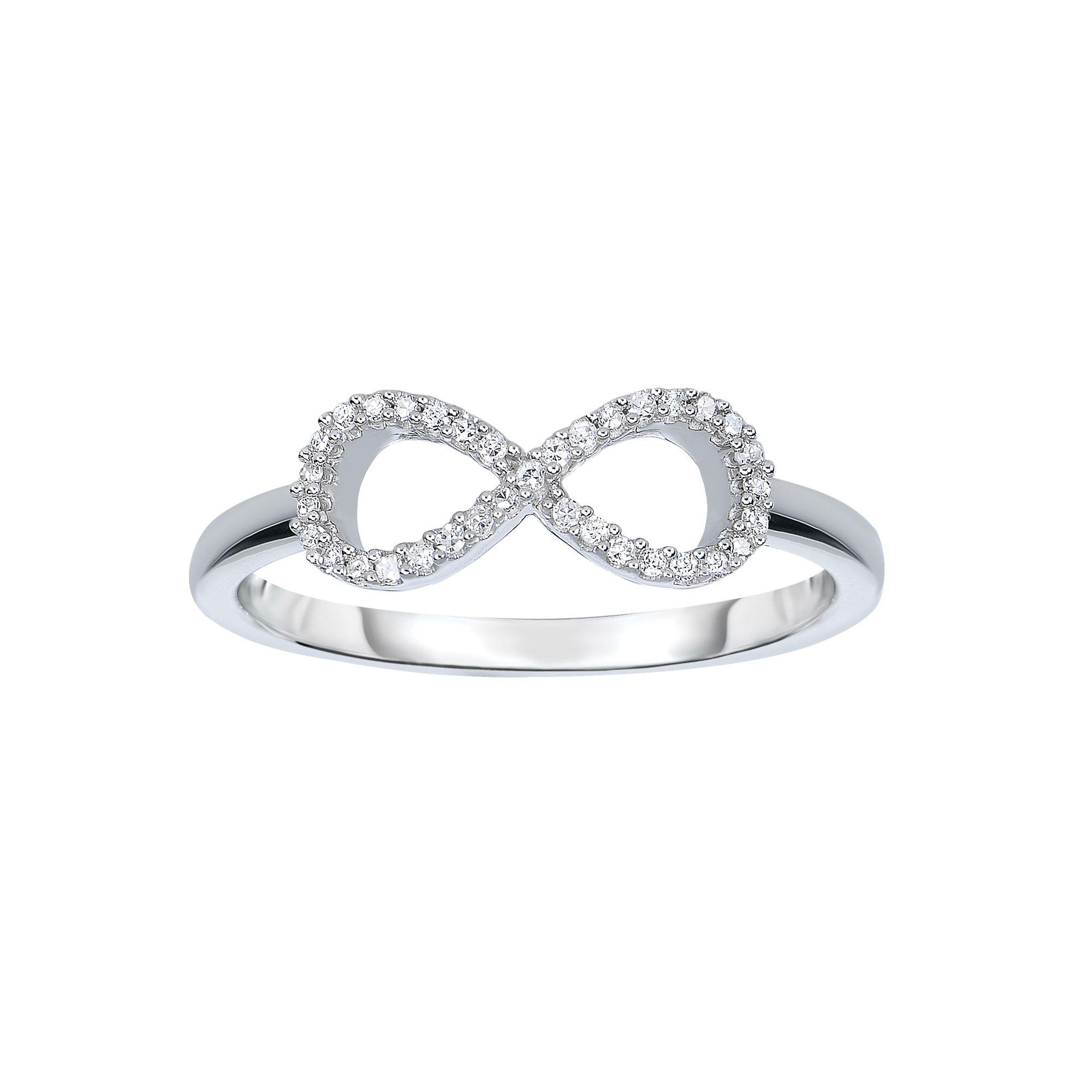 14 Karat White Gold Diamond Infinity Ring