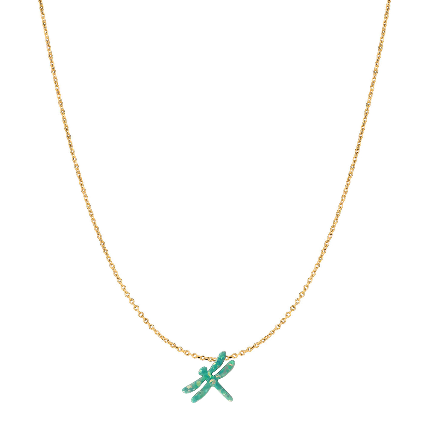 14 Karat Gold Moon Green Opal Dragonfly Necklace