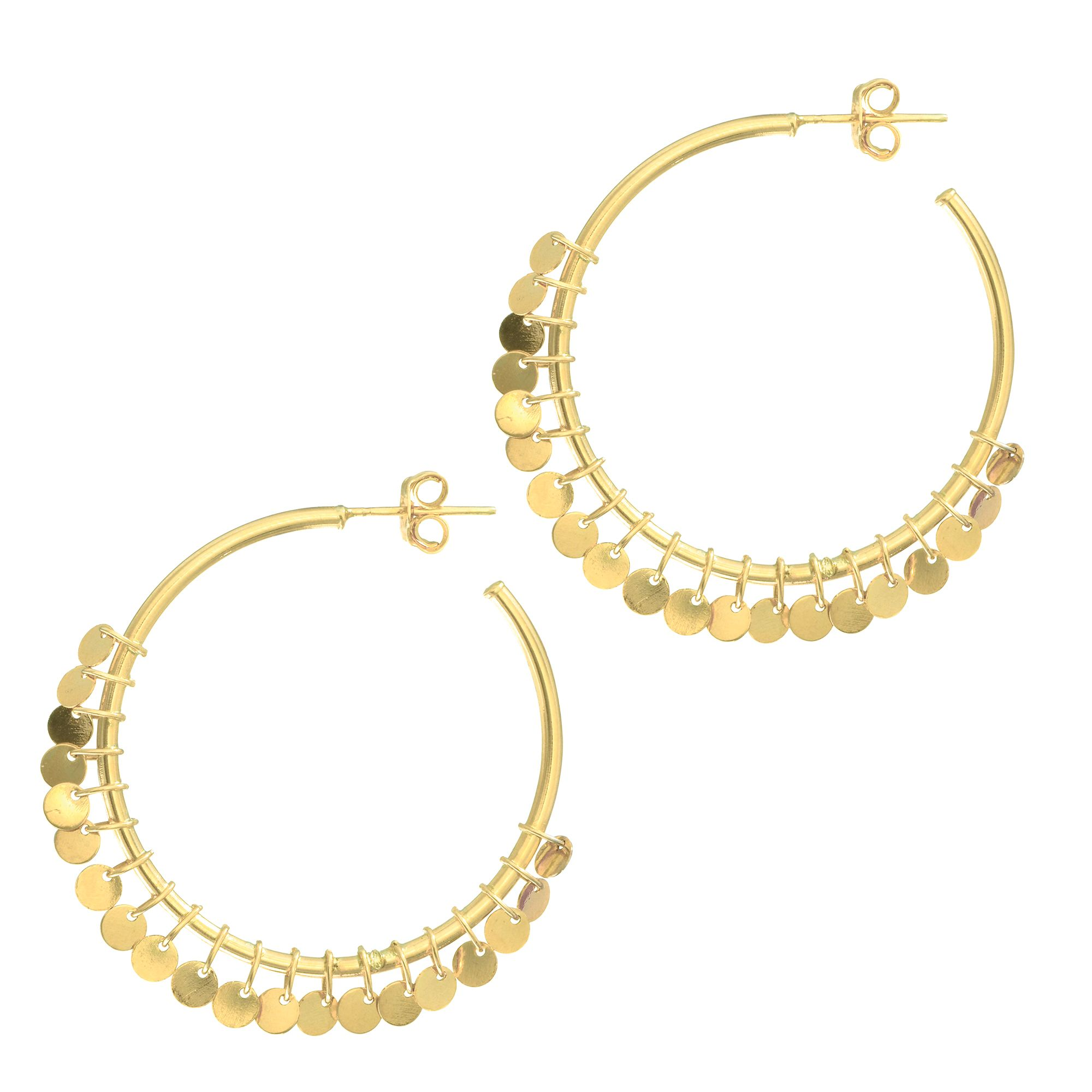 14 Karat Yellow Gold Dangling Disc Open Hoop Earrings