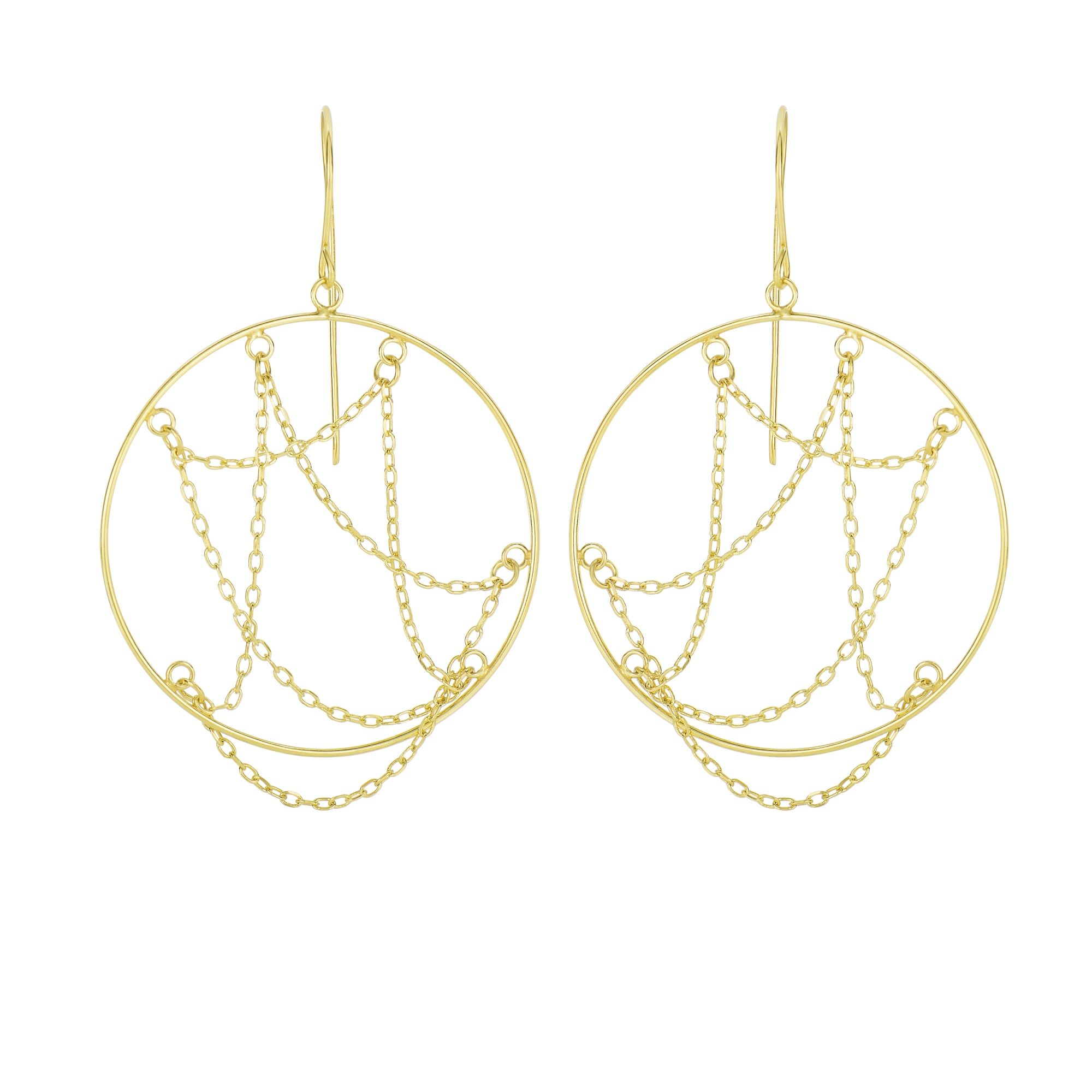 14 Karat Yellow Gold Dangling Chain Open Circle Drop Earrings