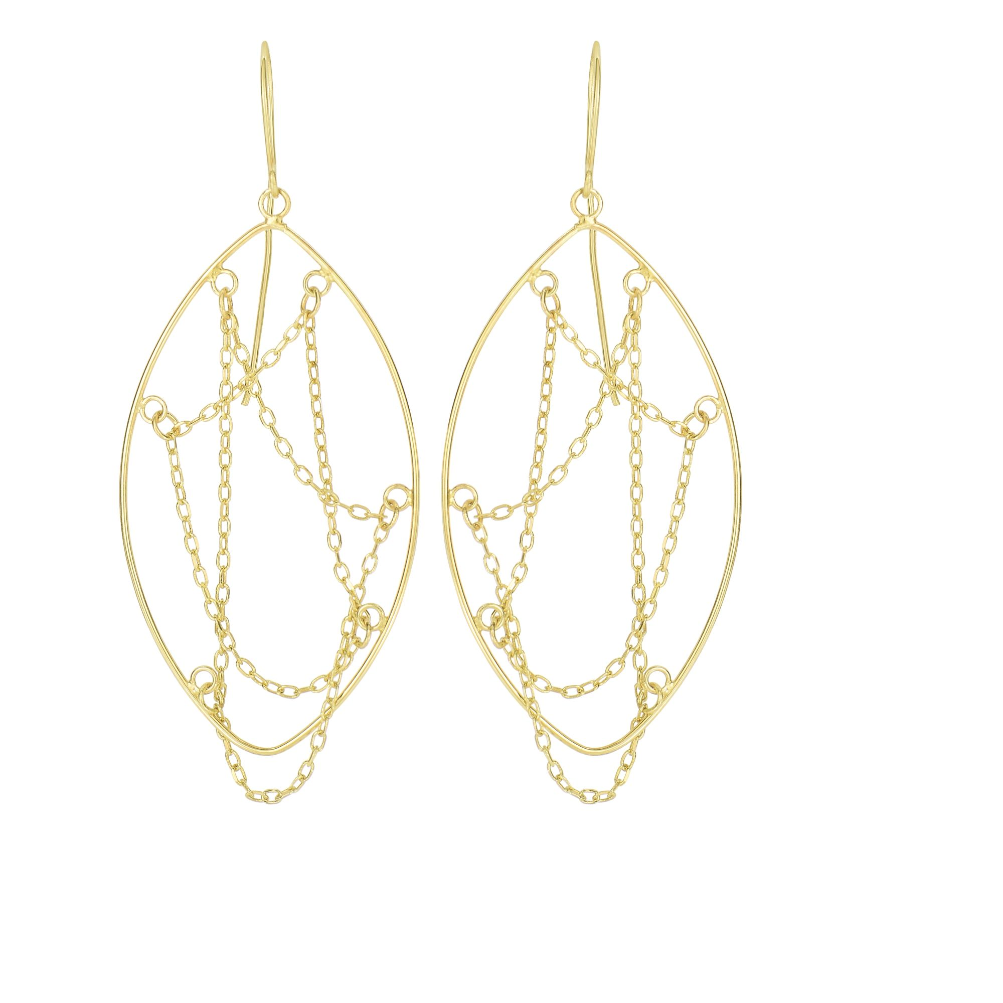 14 Karat Yellow Gold Dangling Chain Marquise Drop Earrings