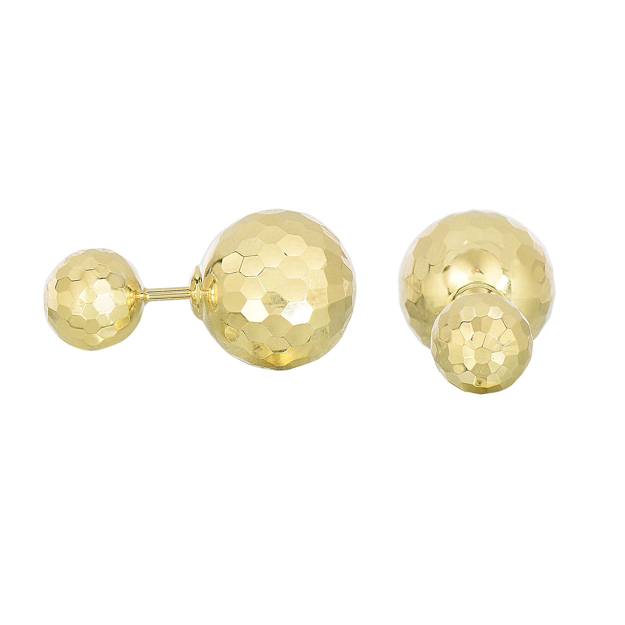 14 Karat Yellow Gold Diamond Cut Double Ball Stud Earrings