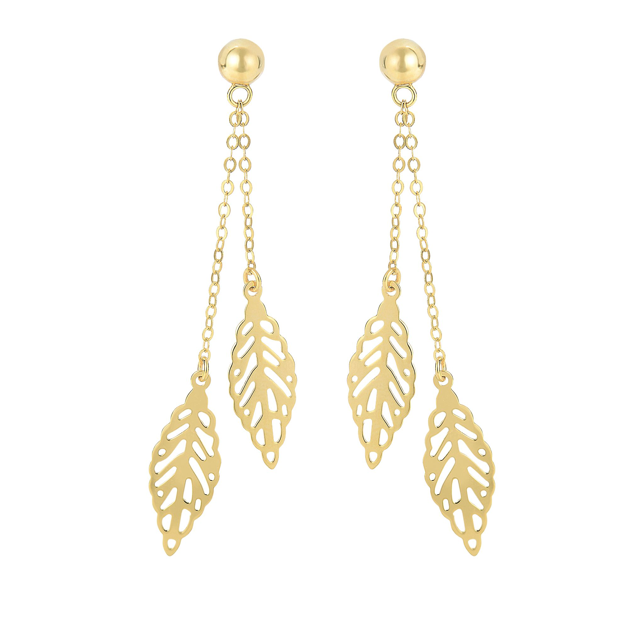 14 Karat Yellow Gold Dangling Leaf Earrings