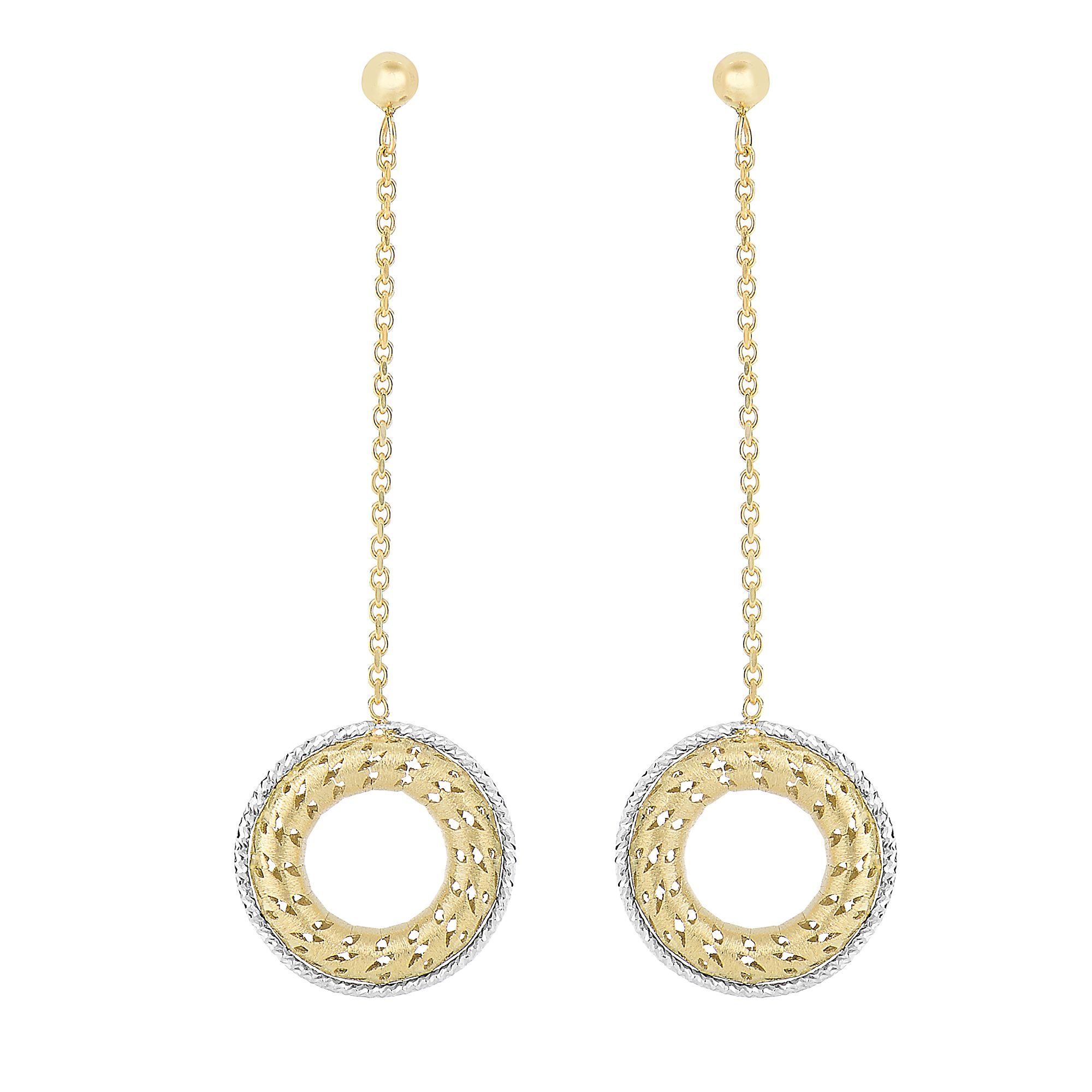14 Karat Gold Two Tone Royal Open Circle Drop Earrings