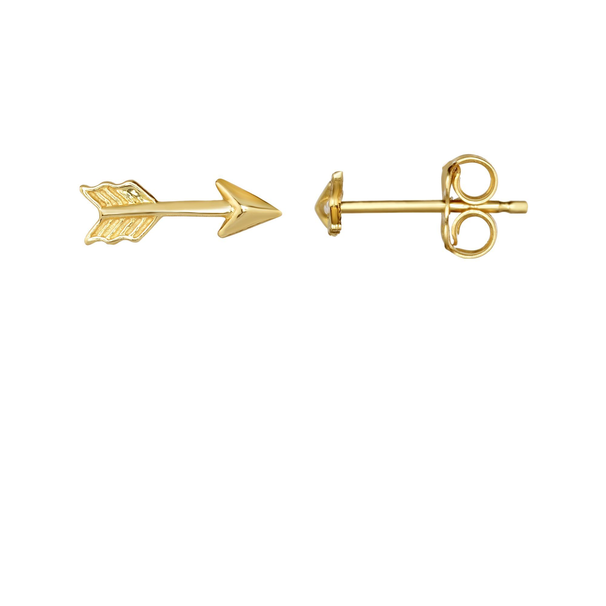 14 Karat Yellow Gold Textured Arrow Stud Earrings