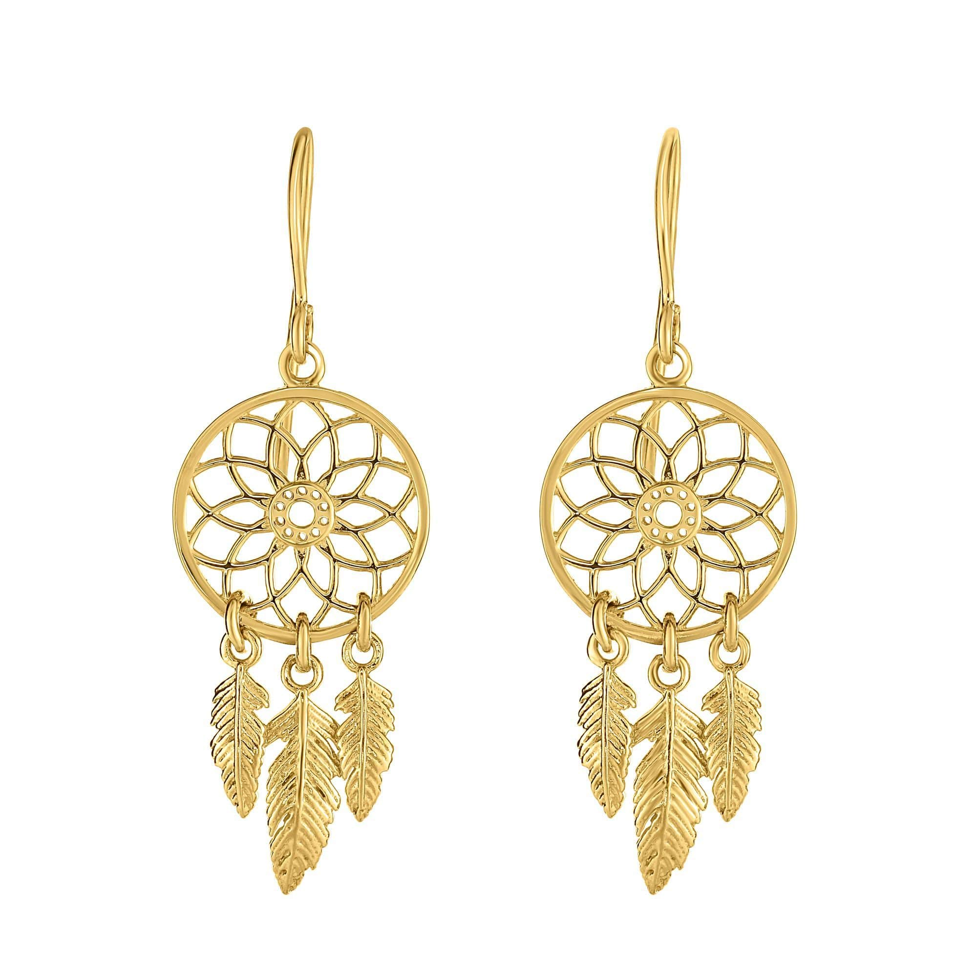 14 Karat Yellow Gold Dangling Dream Catcher Earrings