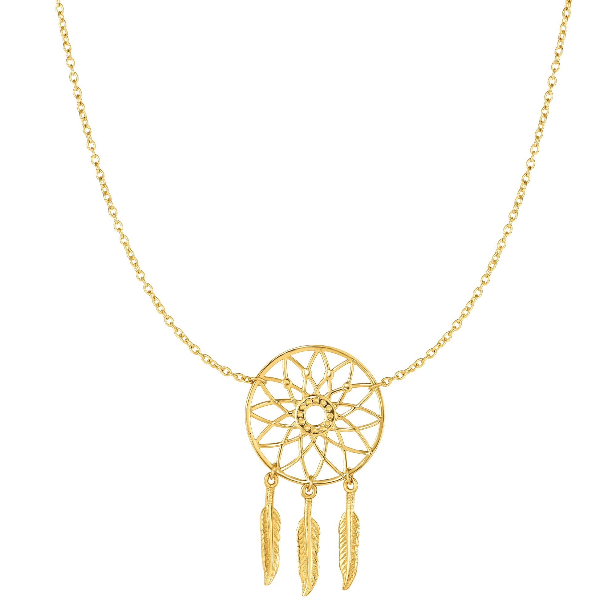 14 Karat Yellow Gold Detailed Dream Catcher Necklace