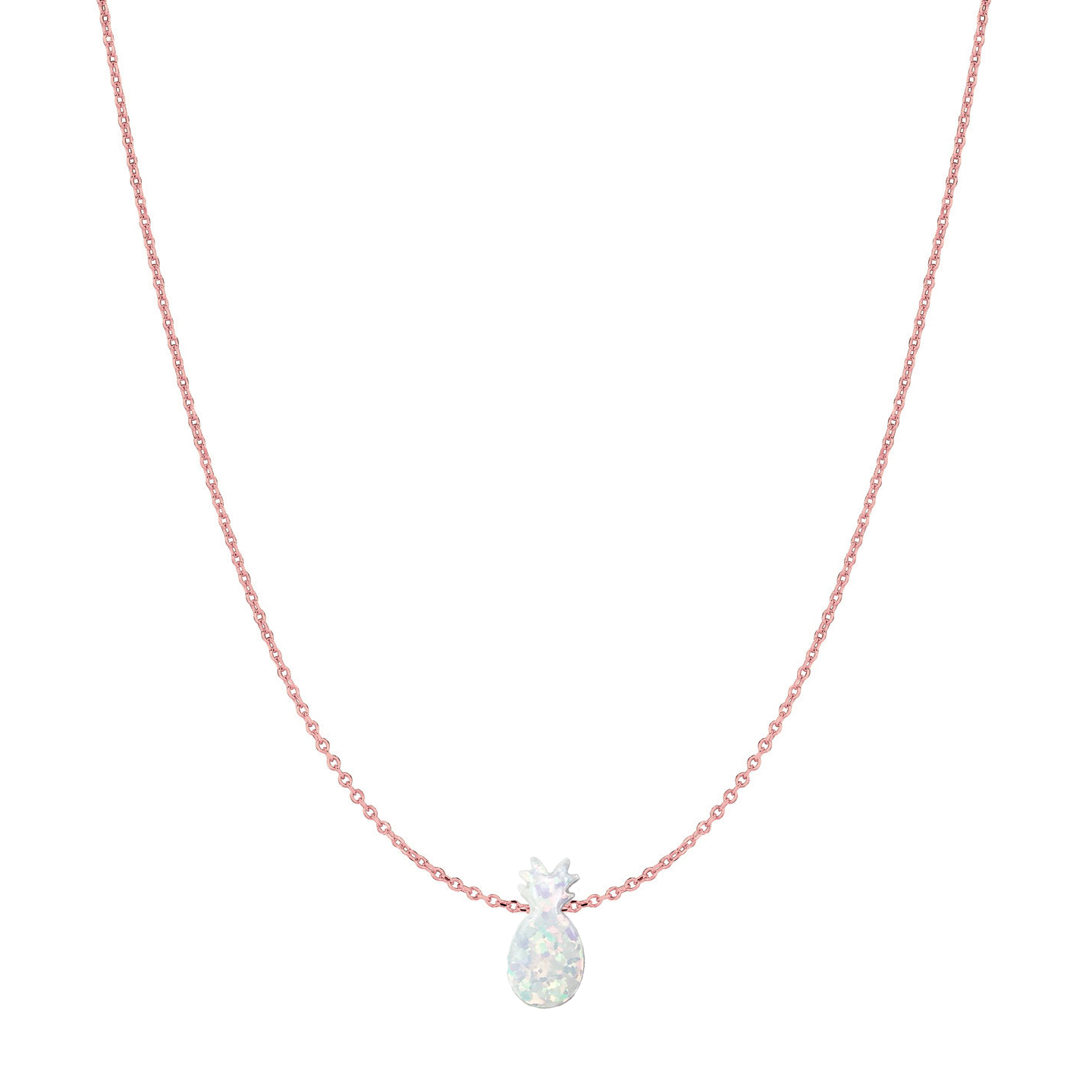 14 Karat Gold Pure White Opal Pineapple Necklace