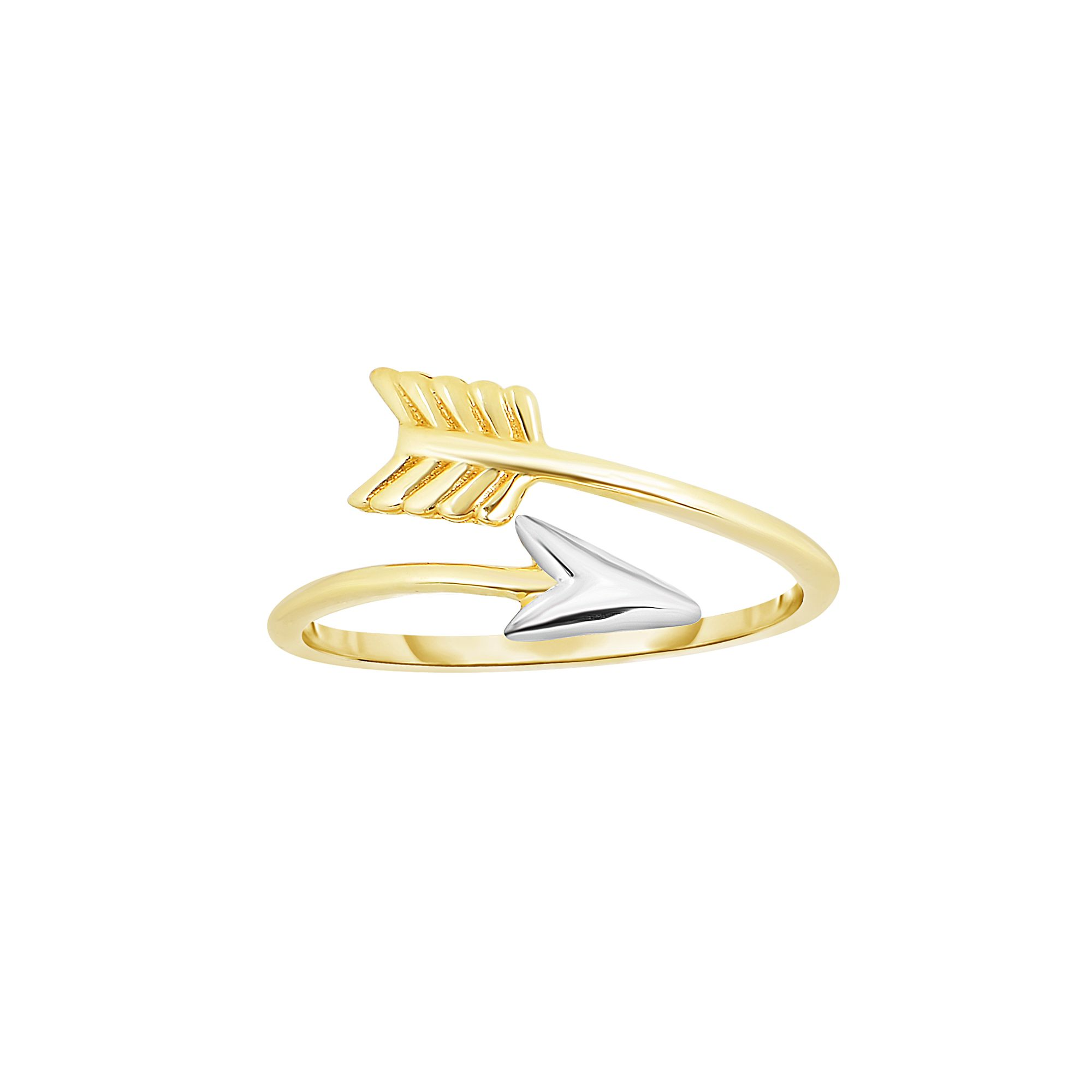 14 Karat White and Yellow Gold Two Tone Arrow Ring