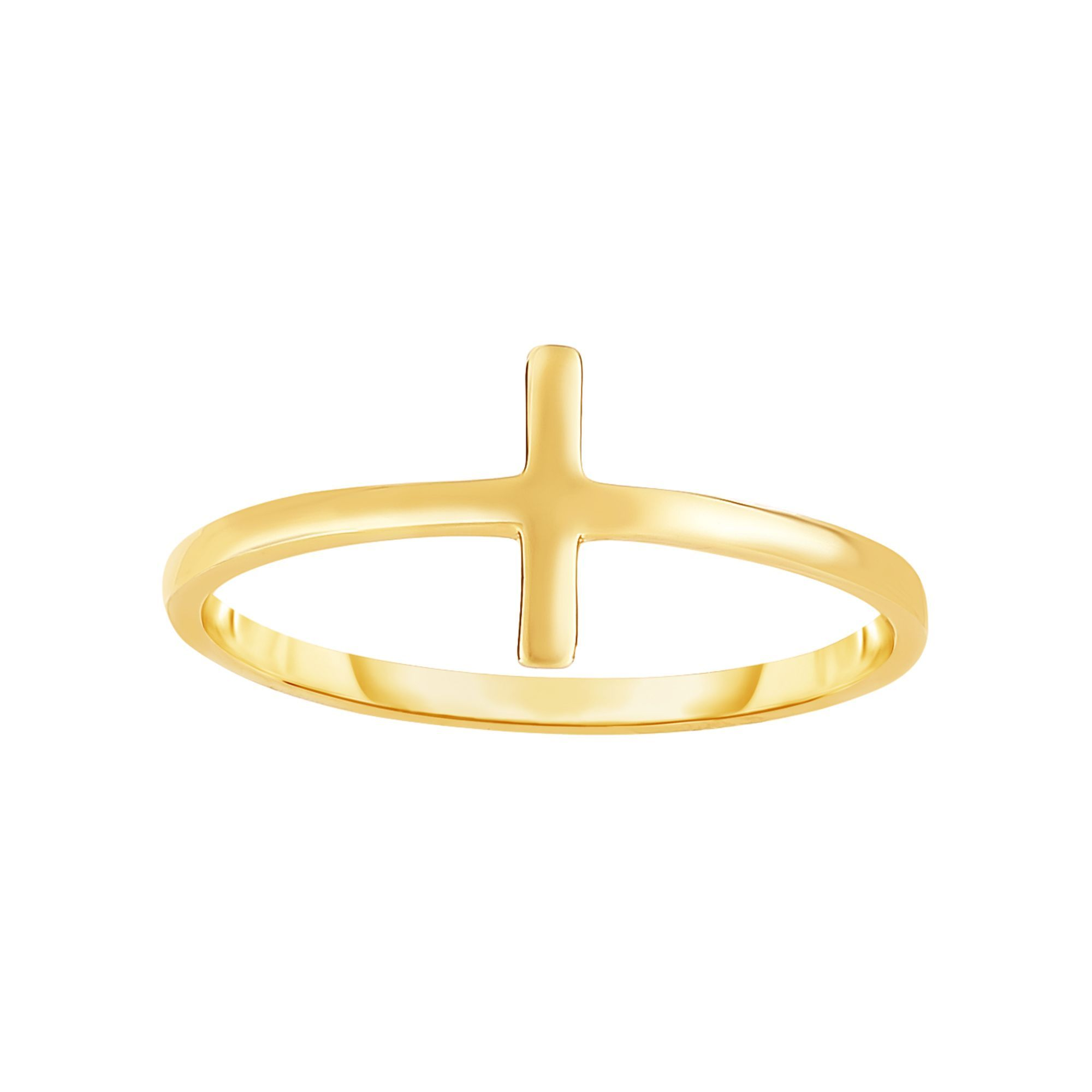 14 Karat Yellow Gold Shiny Sideways Cross Ring