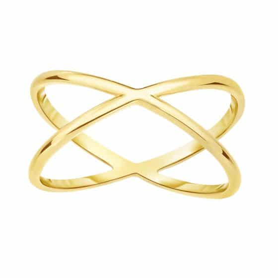 14 Karat Yellow Gold Classic Narrow Criss Cross X Ring