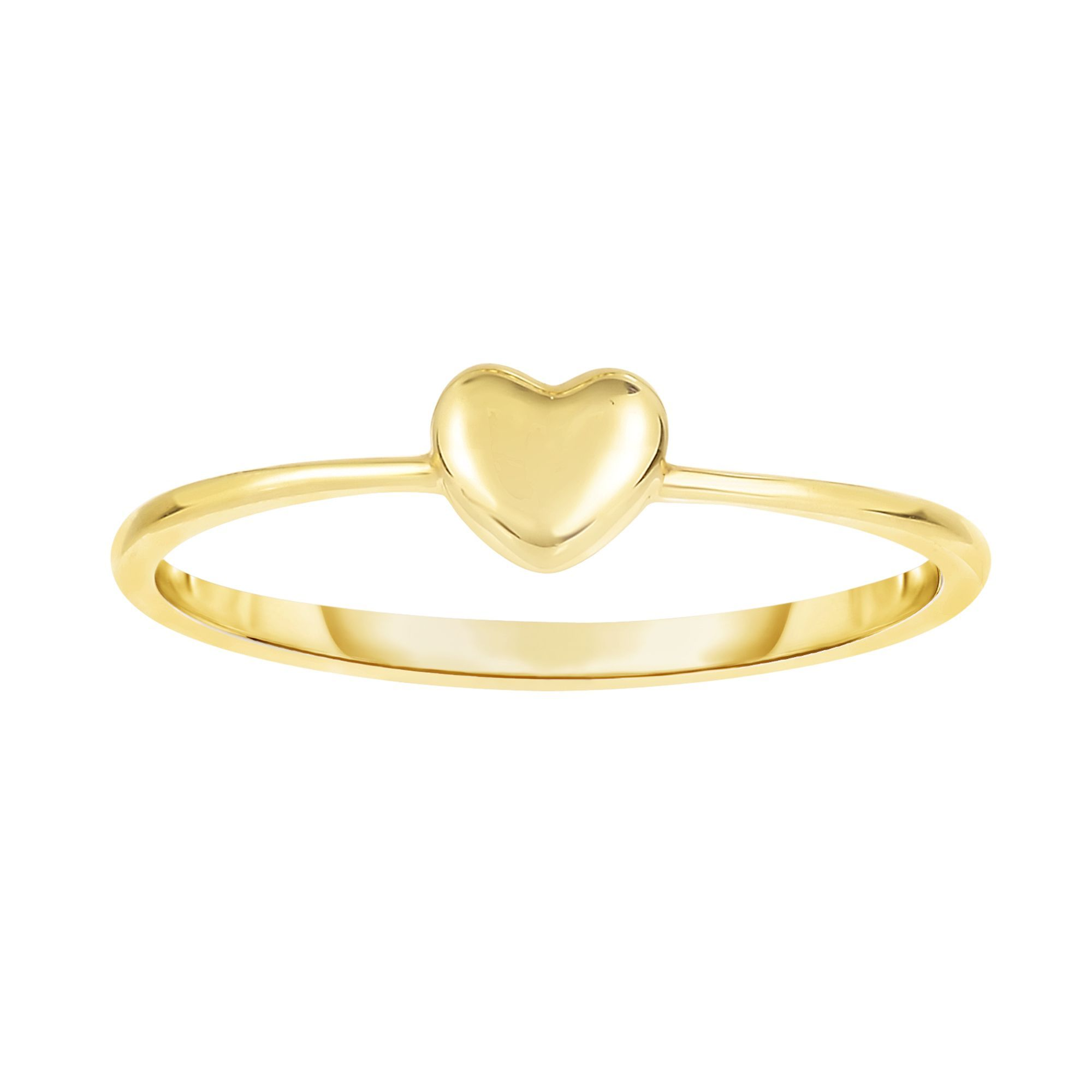 14 Karat Yellow Gold Mini Heart Ring