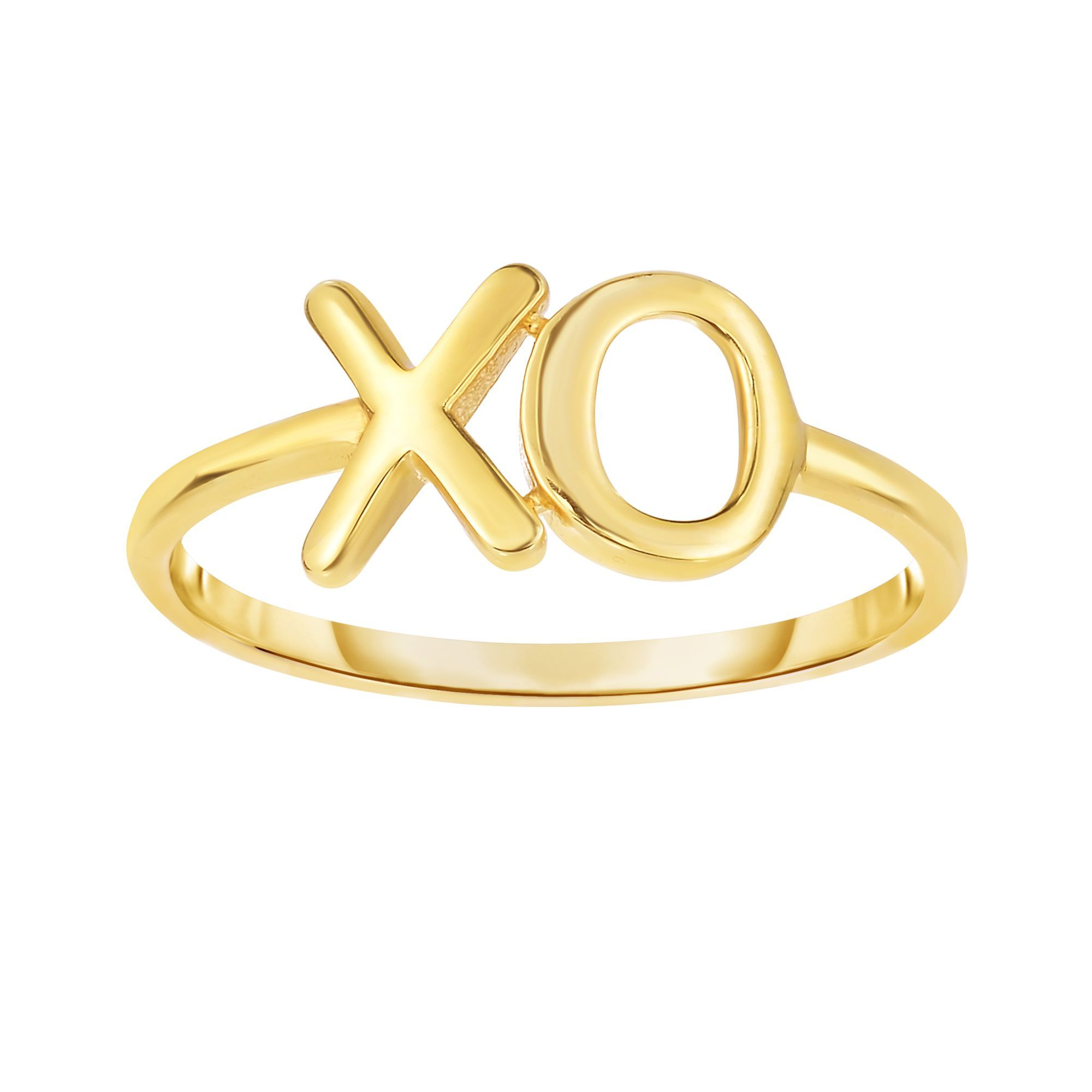 14 Karat Yellow Gold XO Hugs and Kisses Ring