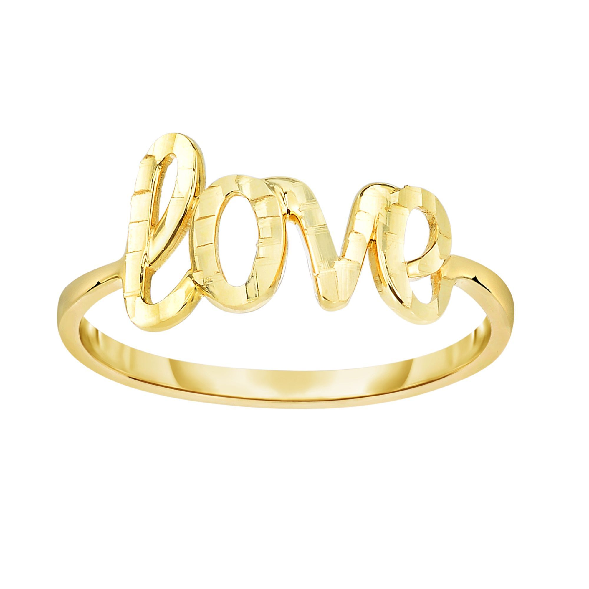 14 Karat Yellow Gold Diamond Cut LOVE Ring