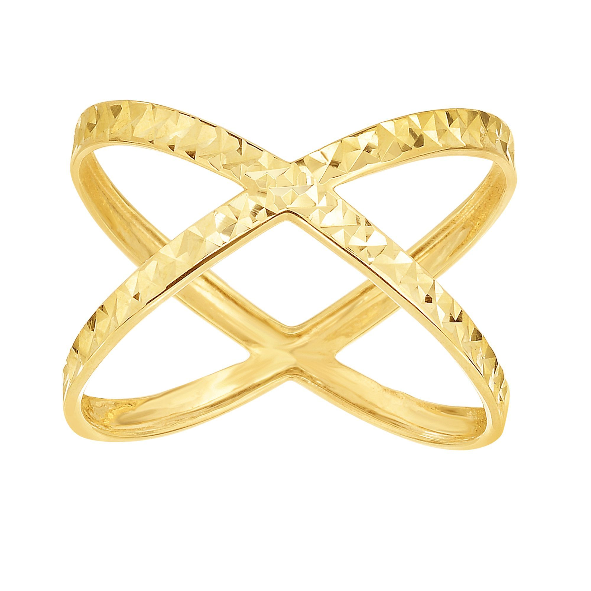 14 Karat Yellow Gold Diamond Cut Criss Cross X Ring