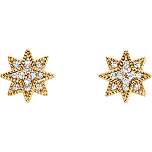 14 Karat Gold Diamond Starburst Stud Earrings