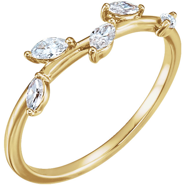 14 Karat Gold Marquise Diamond Leaf Vine Ring