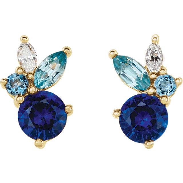 14 Karat Gold Multi Gemstone Cocktail Stud Earrings
