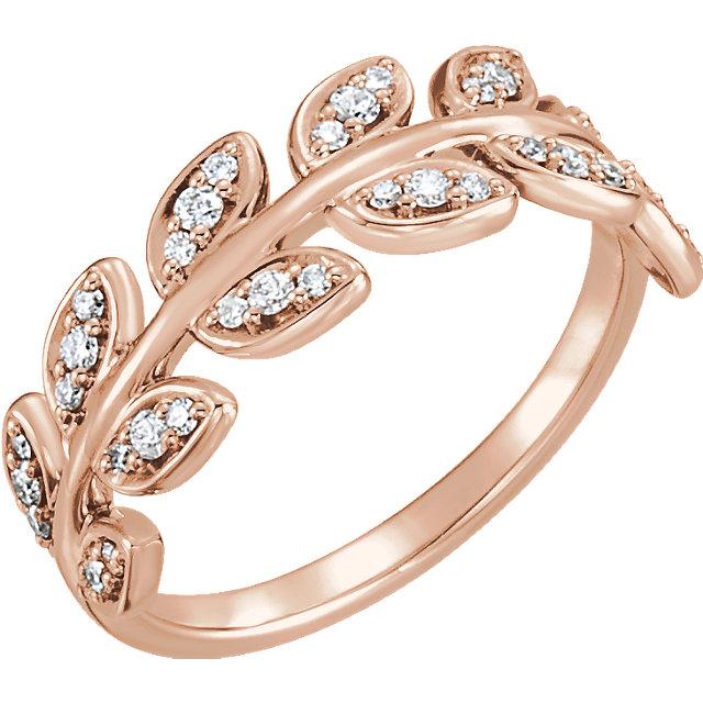 14 Karat Gold Diamond Laurel Wreath Leaf Vine Ring