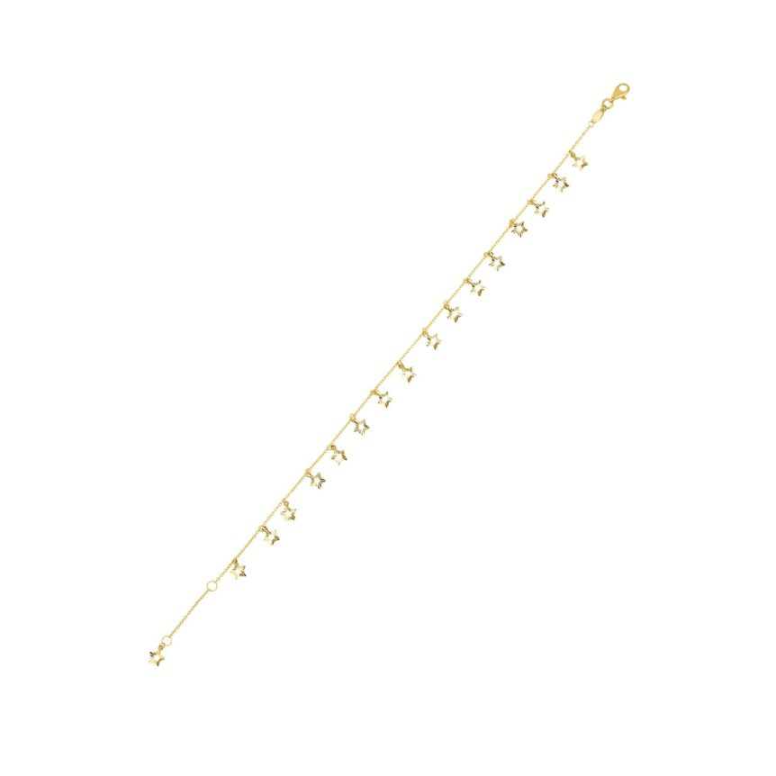 14 Karat Yellow Gold Dangling Star Stationed Ankle Bracelet