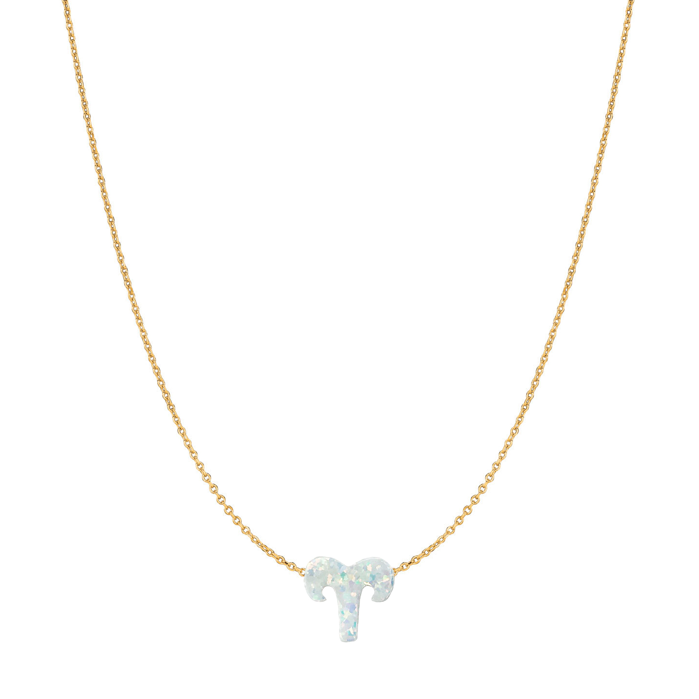 14 Karat Gold Pure White Opal Zodiac Sign Necklace