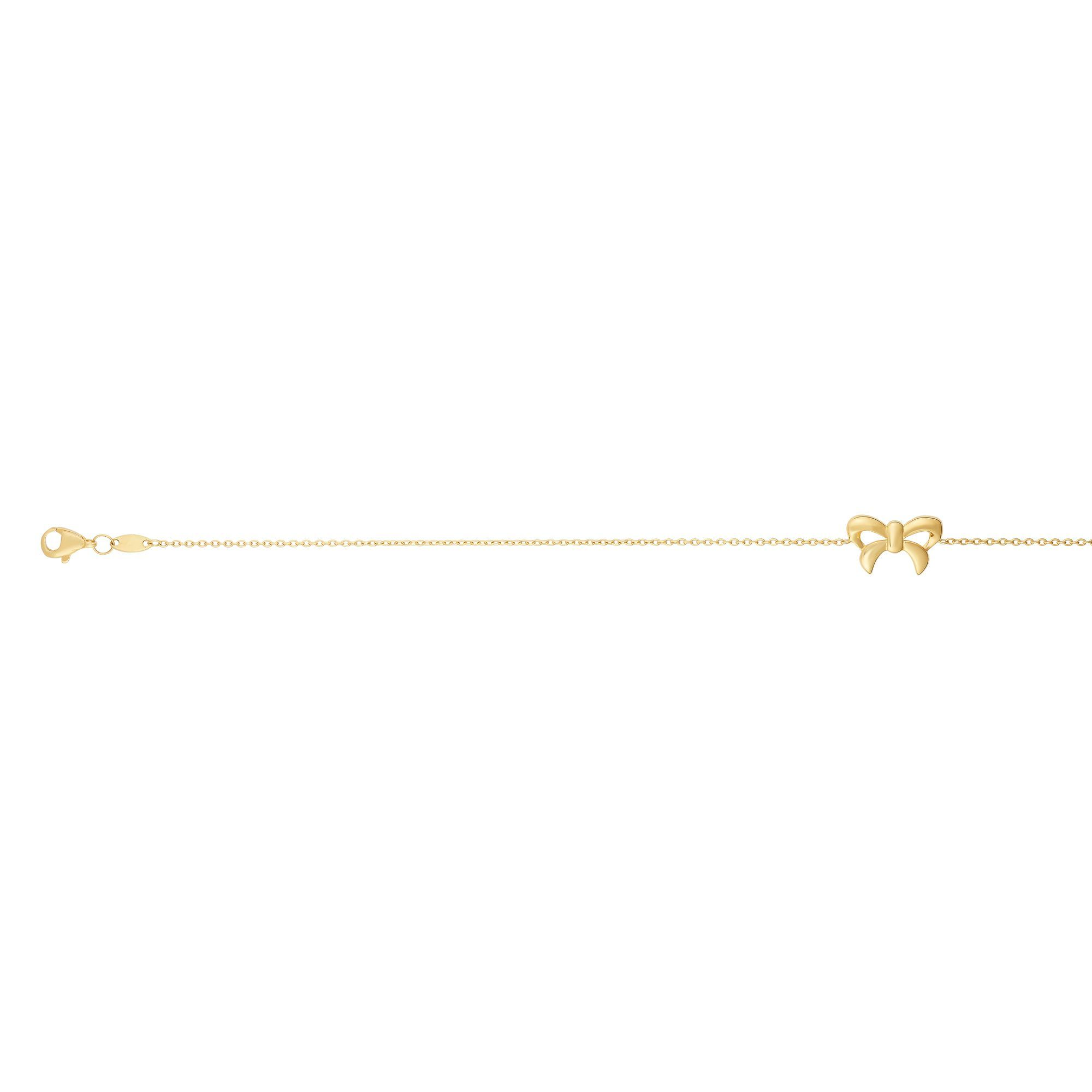 14 Karat Yellow Gold Bow Ankle Bracelet