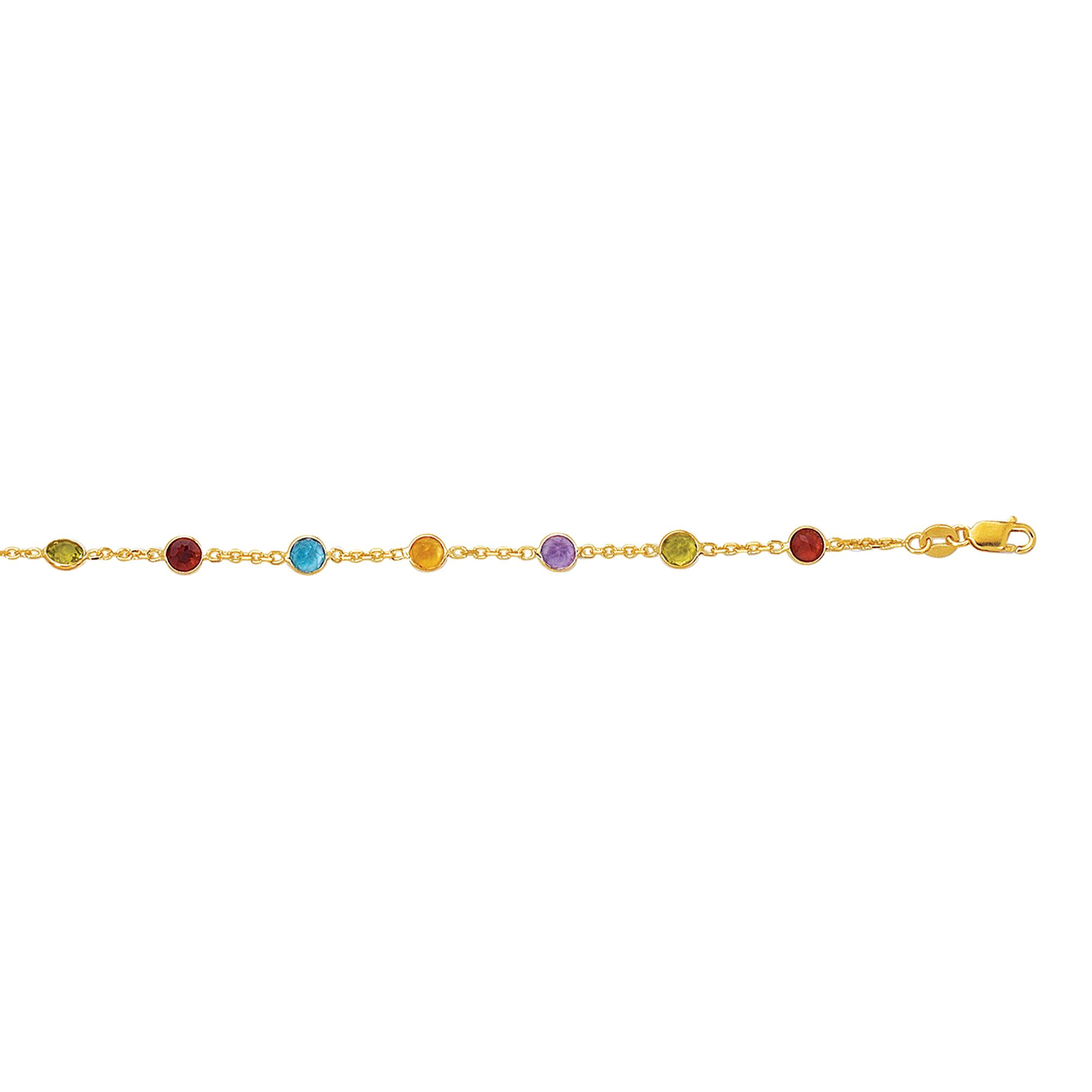 14 Karat Yellow Gold Gemstones By The Yard Ankle Bracelet