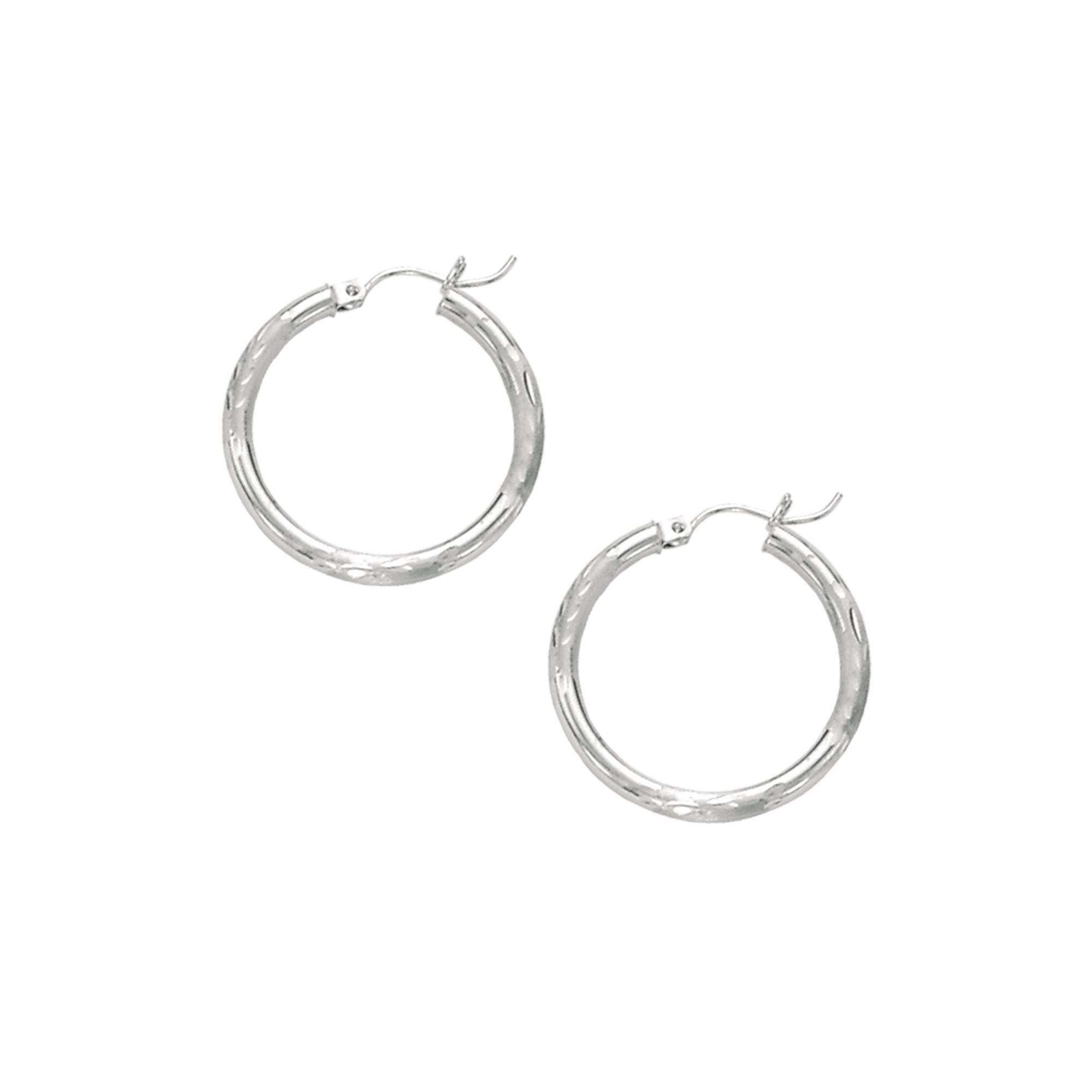 14 Karat Gold 3 mm Textured Hoop Earrings
