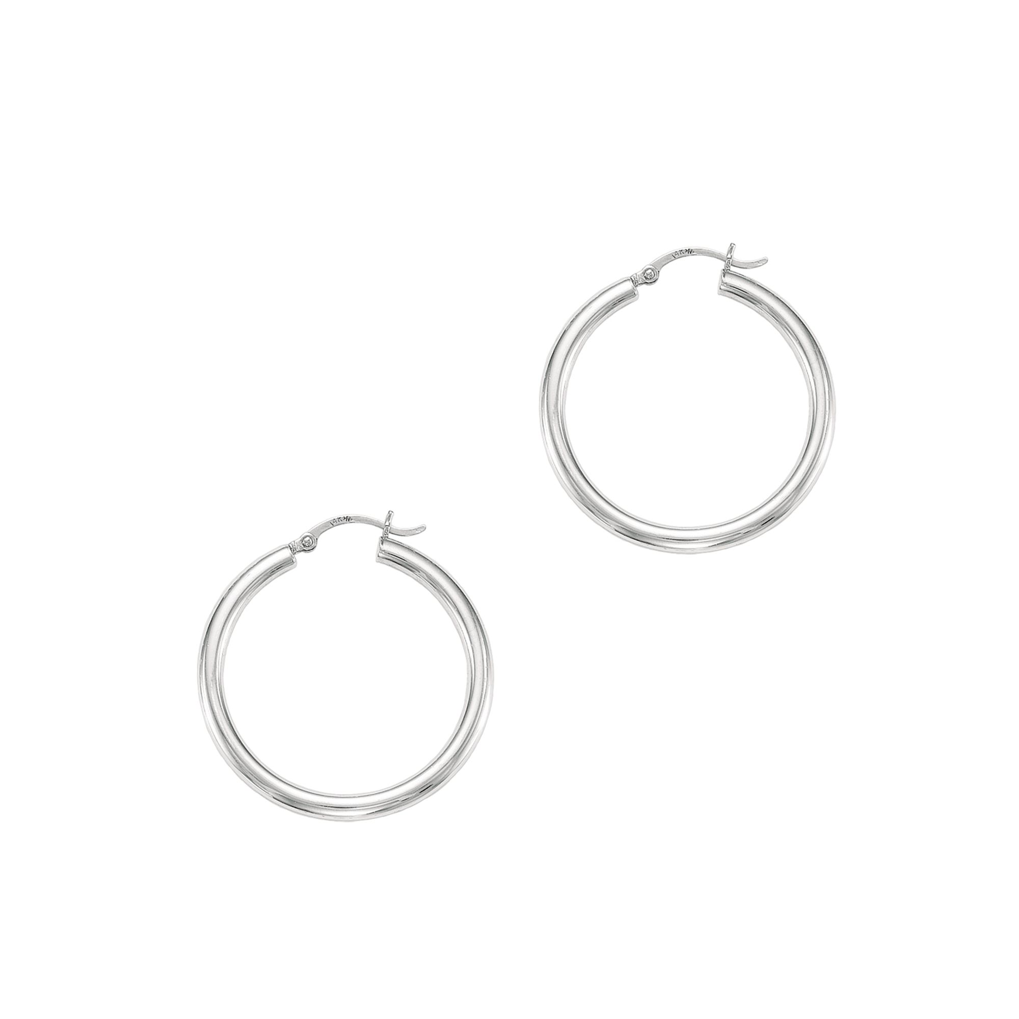 14 Karat Gold 4 mm Polished Hoop Earrings