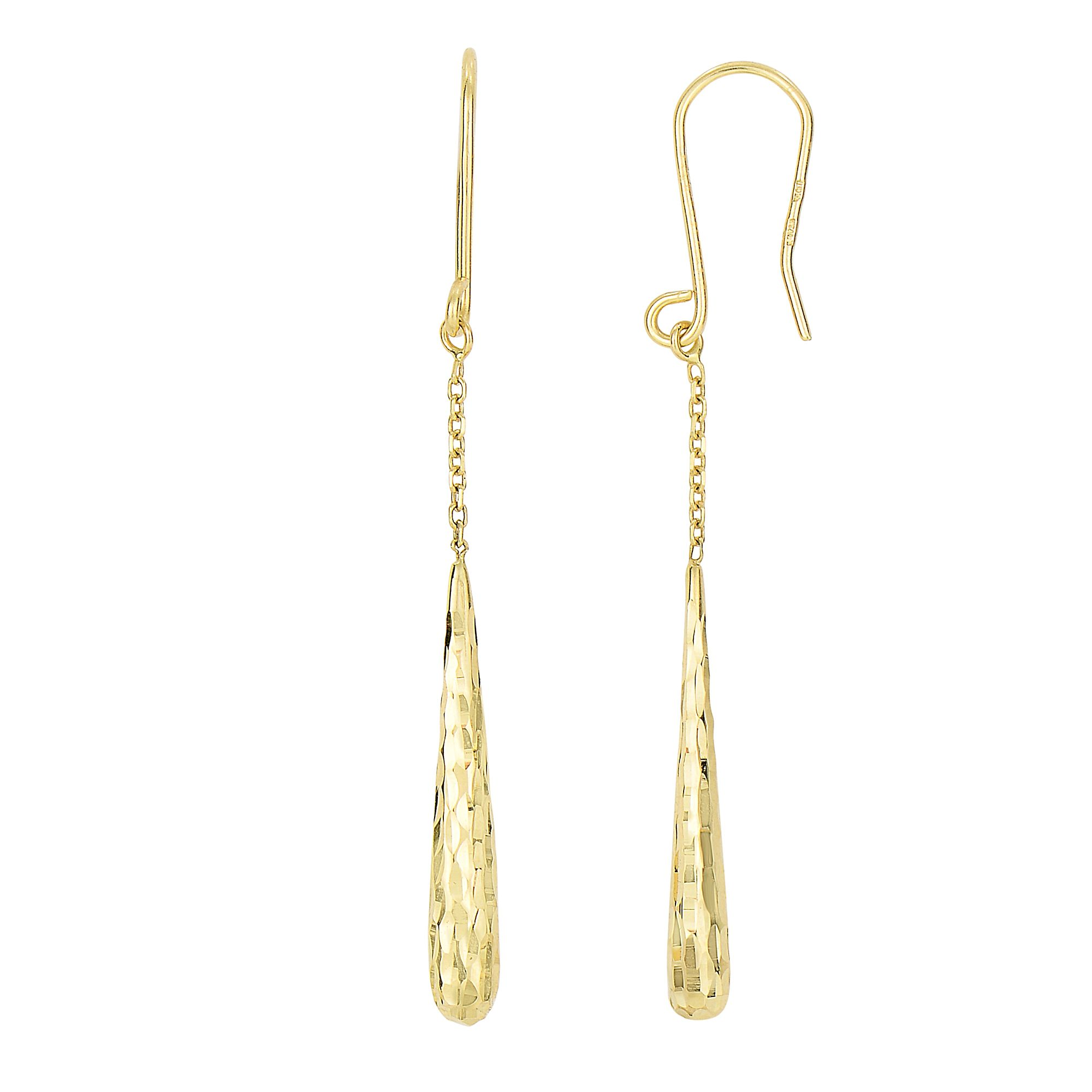 14 Karat Yellow Gold Long Tear Drop Diamond Cut Dangling Earrings