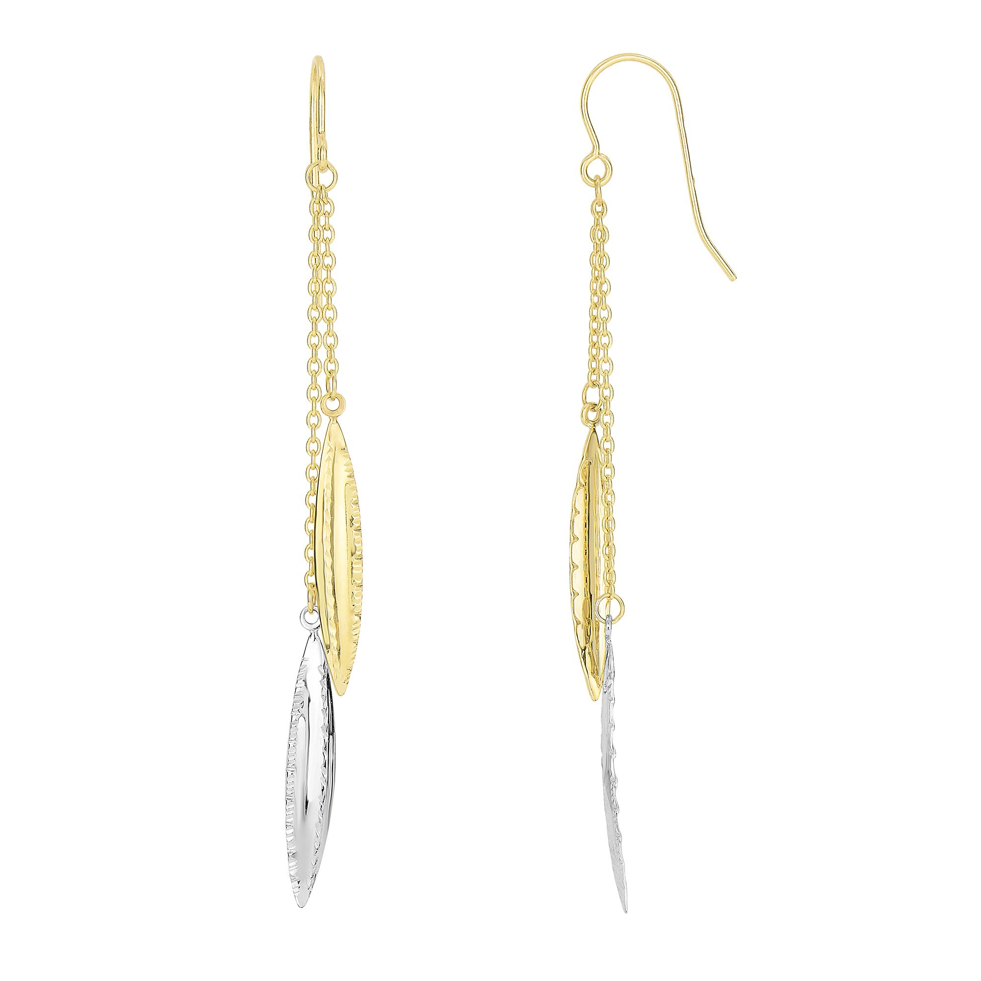 14 Karat Gold Two Tone Leaf Design Dangling Earrings